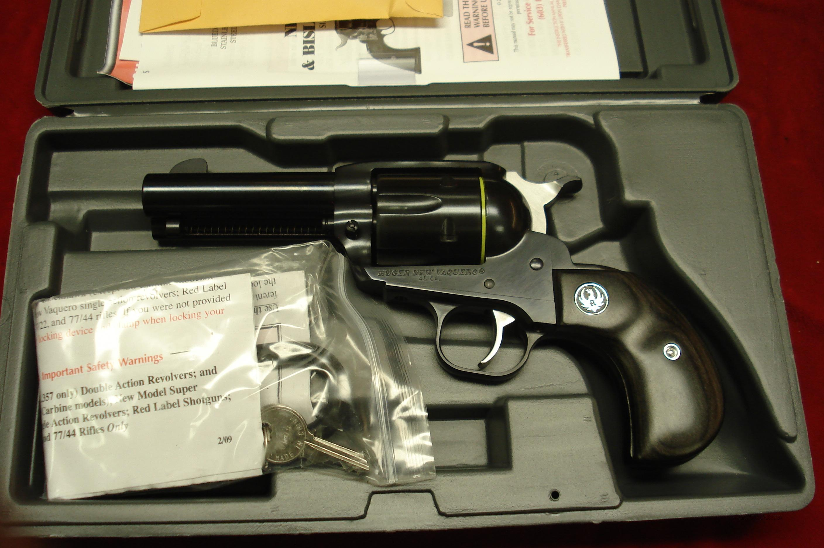 "RUGER BIRDSHEAD VAQUERO 45 COLT  3.75"" NEW (NVBH-453)  Guns > Pistols > Ruger Single Action Revolvers > Cowboy Action"