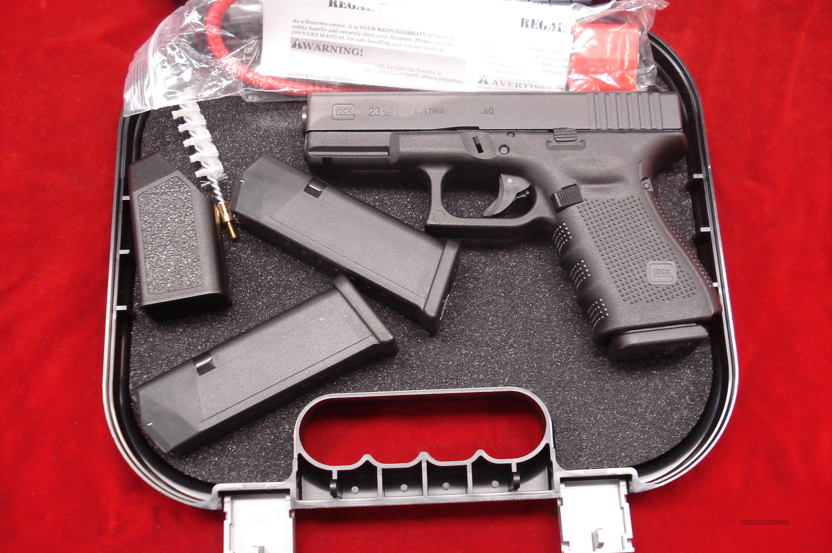 GLOCK NEW MODEL 23 GENERATION 4 .40 CAL. WITH 3  TEN ROUND  MAGAZINES NEW  Guns > Pistols > Glock Pistols > 23
