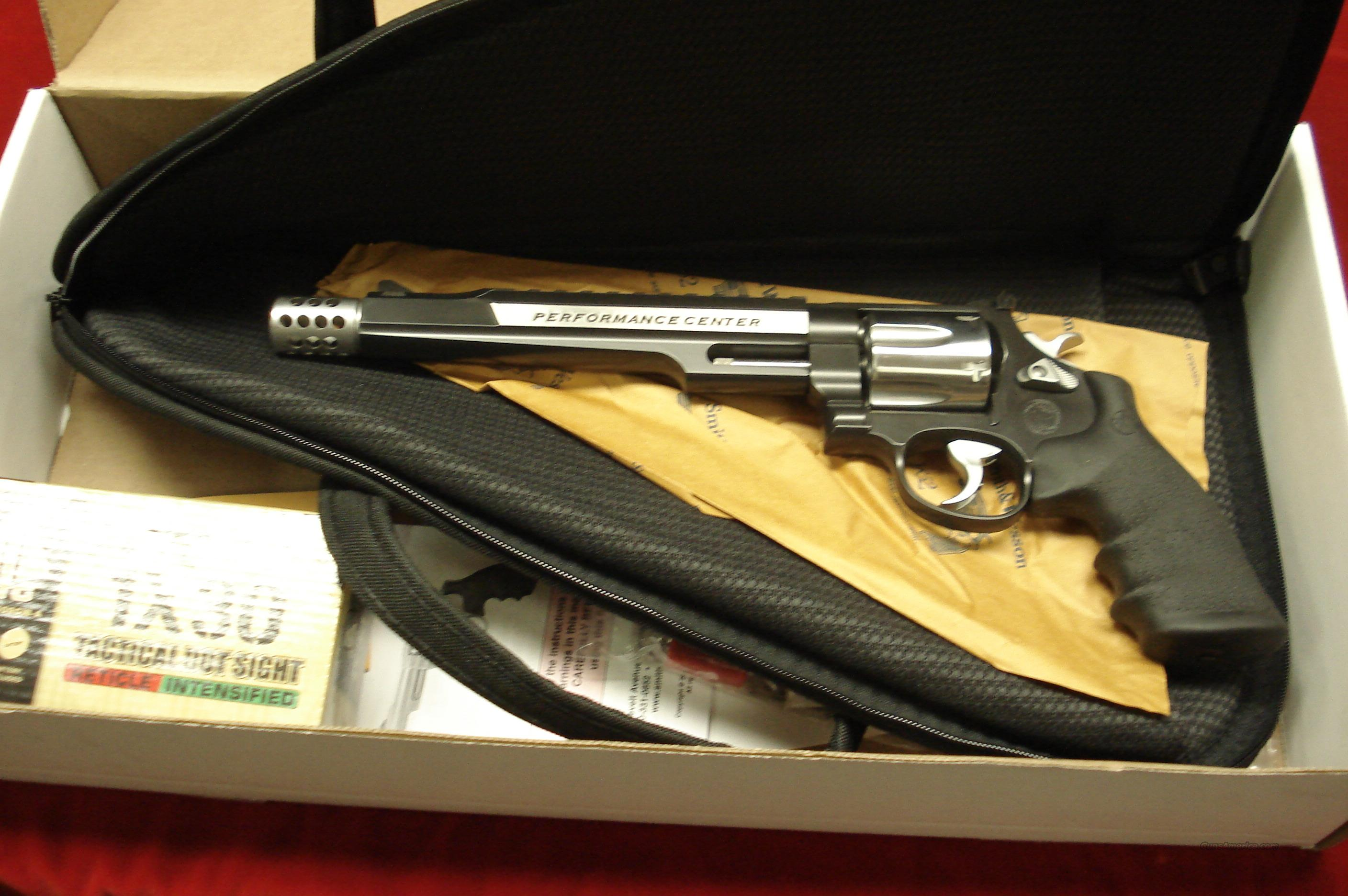 "SMITH AND WESSON PERFORMANCE CENTER MODEL 629  HUNTER 44 MAGNUM 7.5"" BARREL W/MUZZLE BREAK TWO TONE STAINLESS NEW  Guns > Pistols > Smith & Wesson Revolvers > Performance Center"