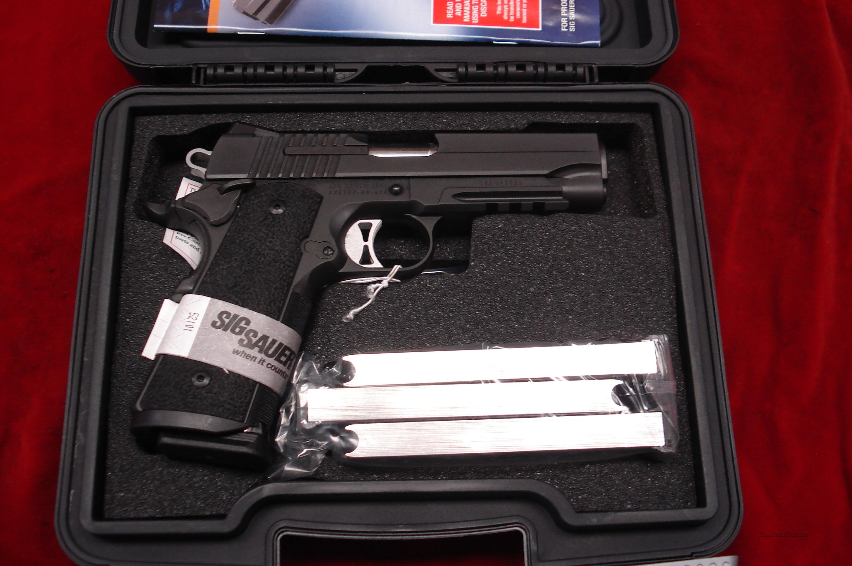SIG SAUER 1911 CARRY  TACOPS WITH TAC RAIL NIGHT SIGHTS AND 4 MAGAZINES NEW   Guns > Pistols > Sig - Sauer/Sigarms Pistols > 1911