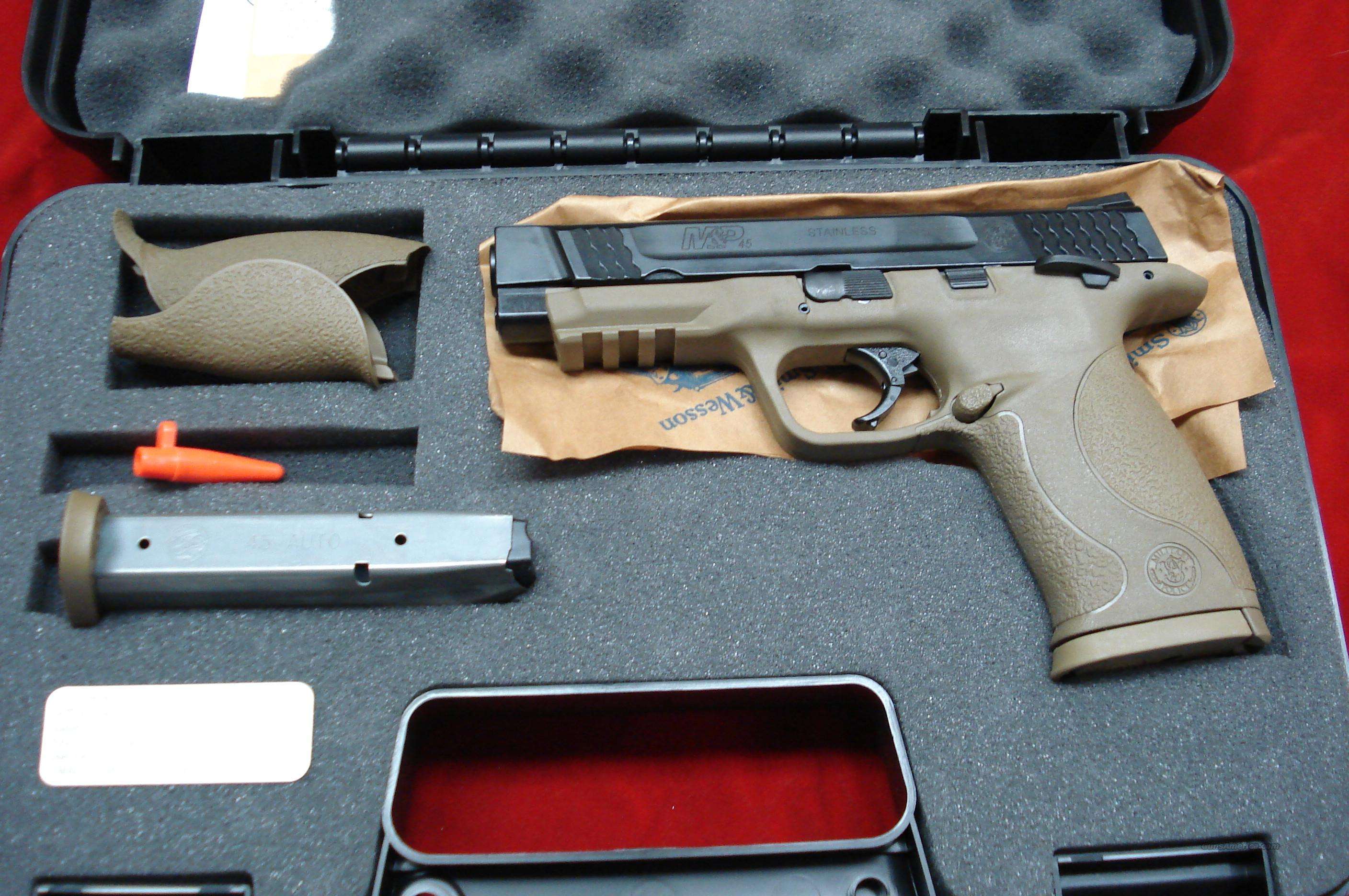 SMITH AND WESSON M&P 45ACP DESERT TAN WITH NIGHT SIGHTS AND THUMB SAFEETY NEW   Guns > Pistols > Smith & Wesson Pistols - Autos > Polymer Frame