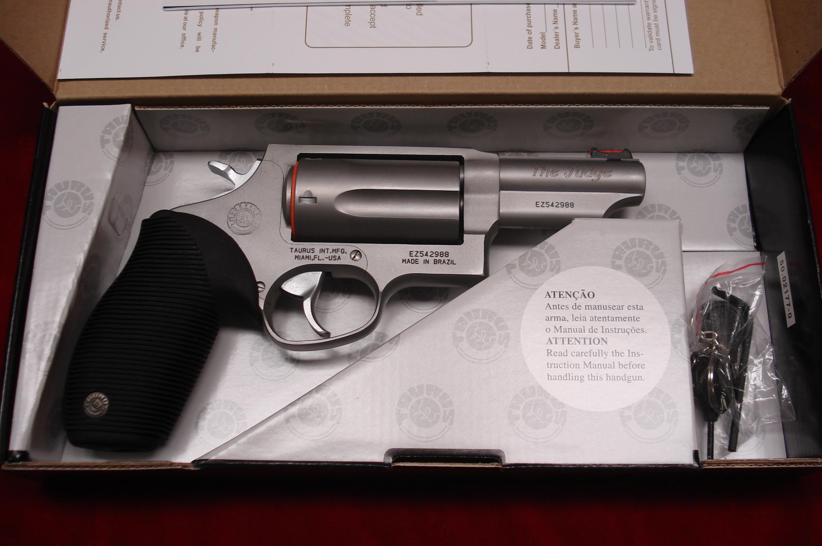"TAURUS 410G REVOLVER "" THE JUDGE "" STAINLESS 3"" BARREL NEW   Guns > Pistols > Taurus Pistols/Revolvers > Revolvers"