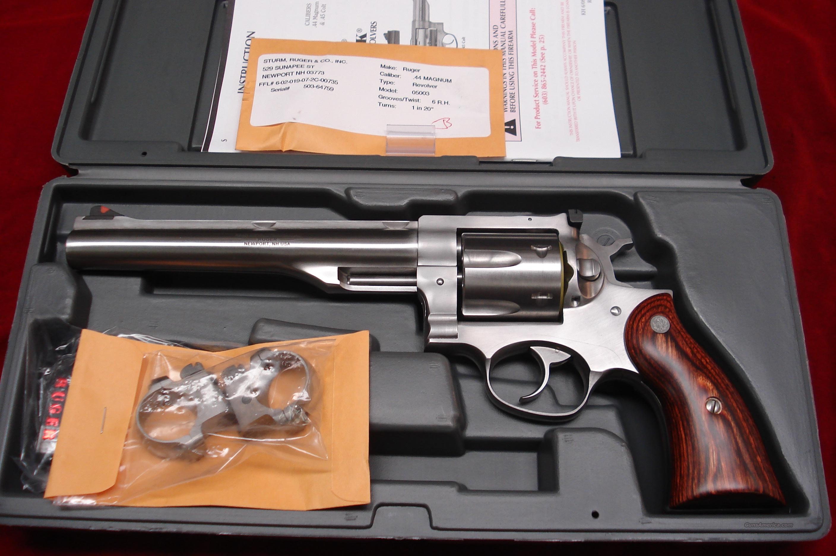 "RUGER NEW MODEL REDHAWK 44MAG. 7.5"" STAINLESS WITH RINGS NEW (KRH-44R)  Guns > Pistols > Ruger Double Action Revolver > Redhawk Type"