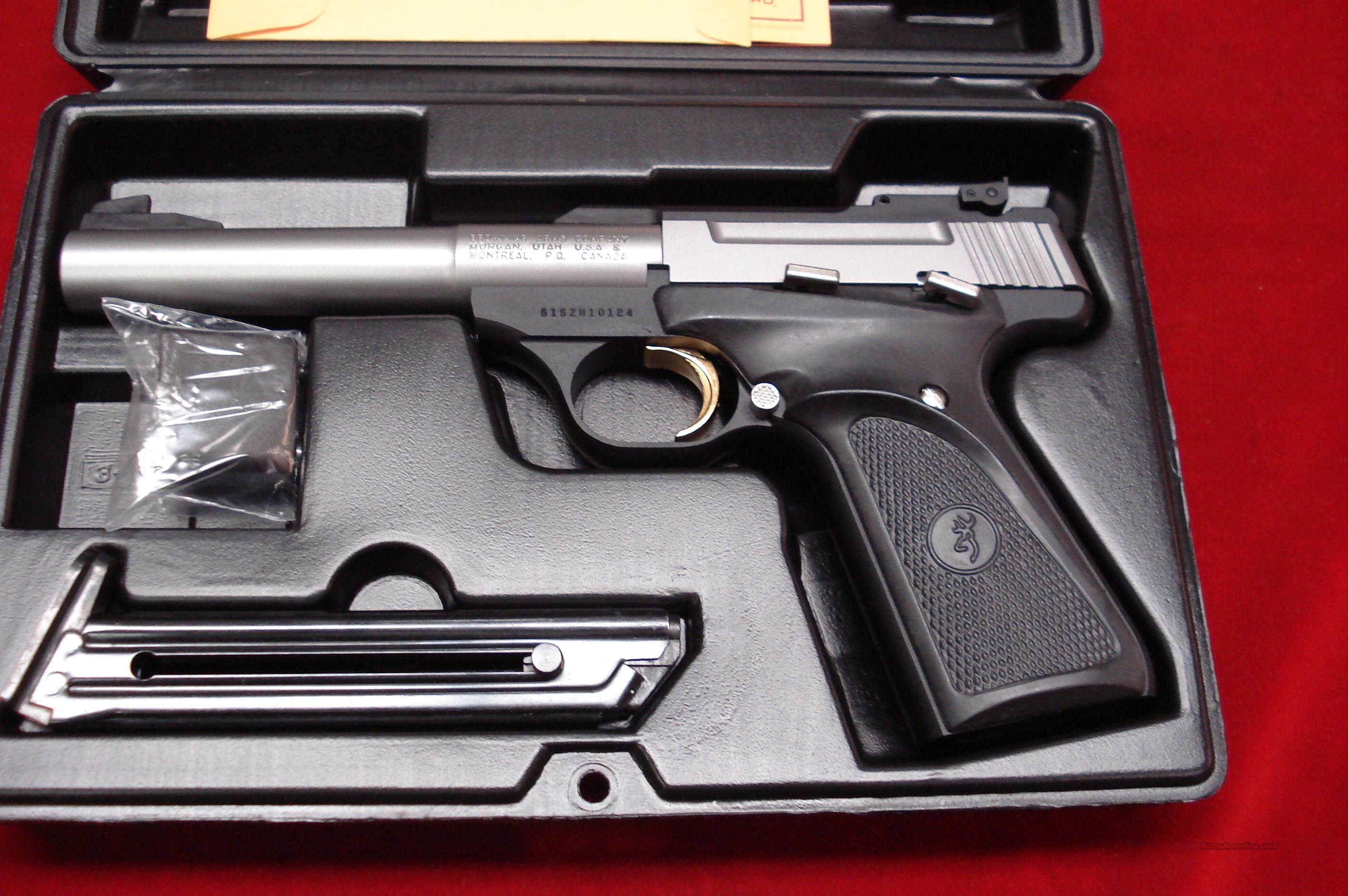 "BROWNING BUCKMARK STAINLESS  5.5"" CAMPER  PRO TARGET  22CAL. NEW  Guns > Pistols > Browning Pistols > Buckmark"
