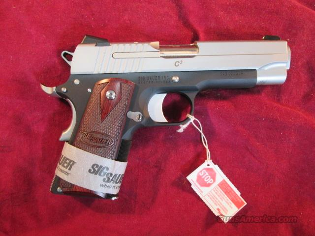 "SIG SAUER 1911 C3 COMPACT TWO TONE 4.25"" BARREL ROSEWOOD GRIPS NEW  Guns > Pistols > Sig - Sauer/Sigarms Pistols > 1911"