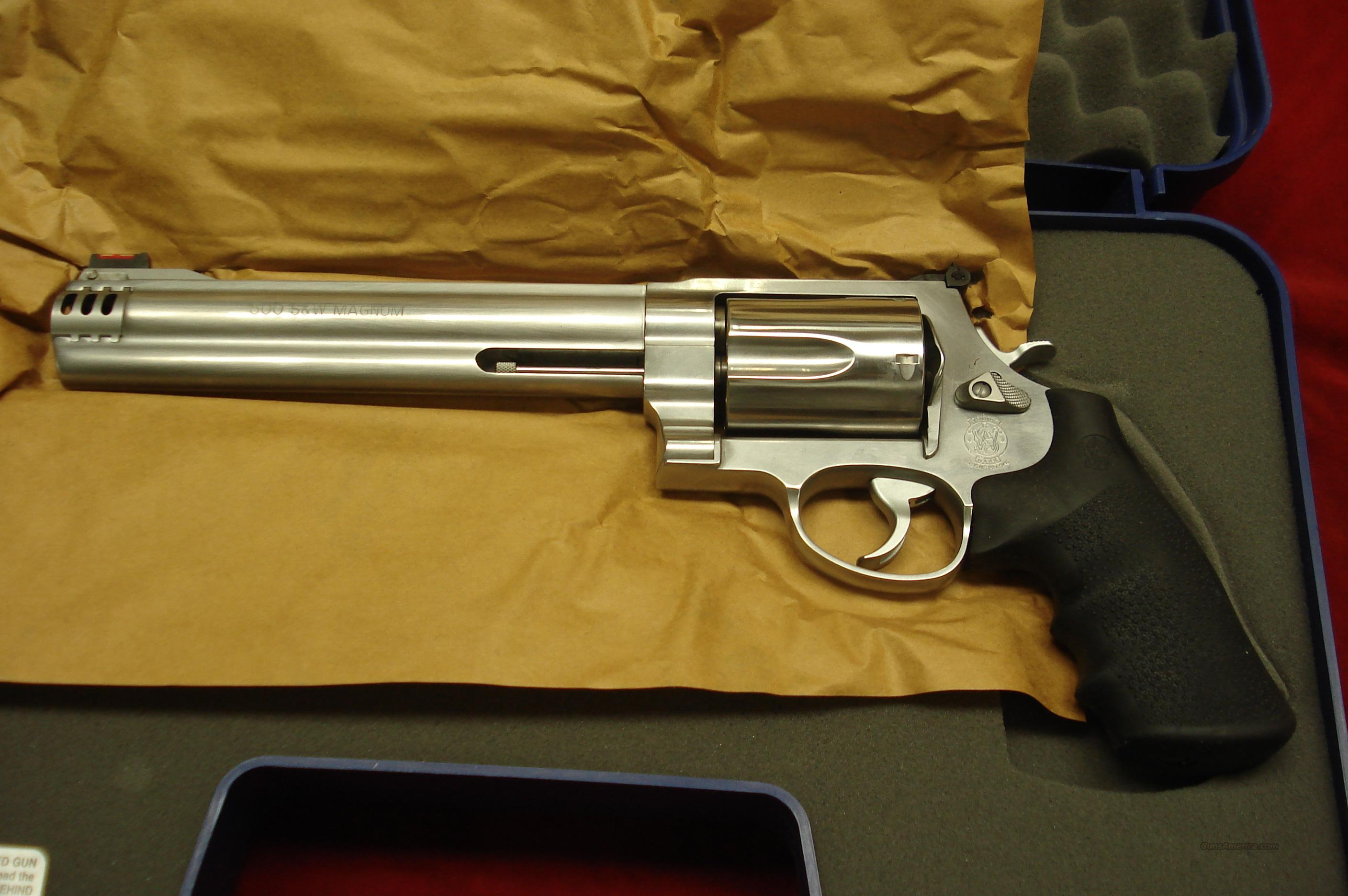 "SMITH AND WESSON MODEL 500 STAINLESS 500S&W CAL. 8 3/8"" HI-VIS SIGHT NEW  Guns > Pistols > Smith & Wesson Revolvers > Full Frame Revolver"