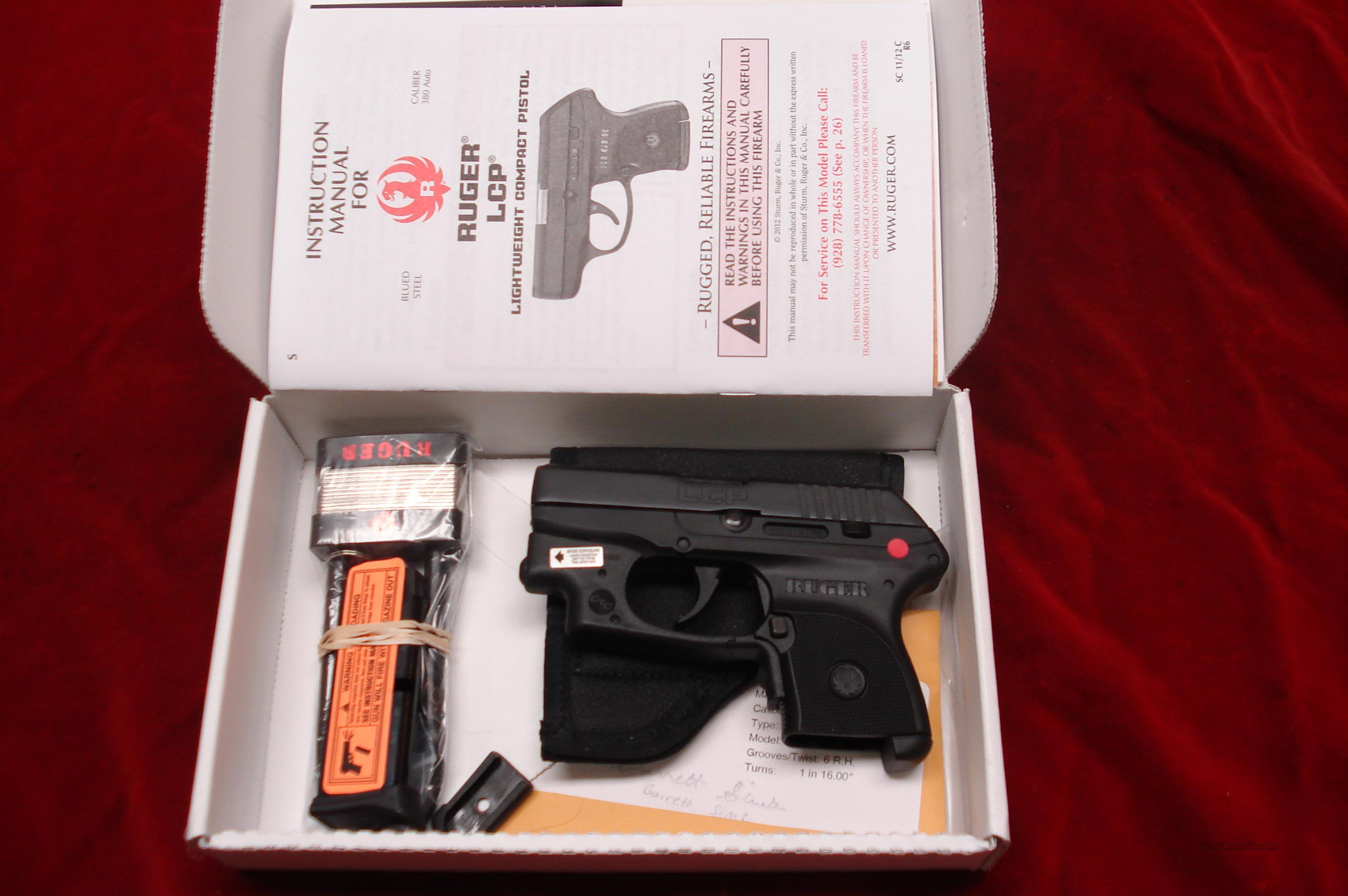 RUGER LCP (Lightweight Compact Pistol) 380CAL. WITH FACTORY INSTALLED CRIMSON TRACE LASER NEW  Guns > Pistols > Ruger Semi-Auto Pistols > LCP