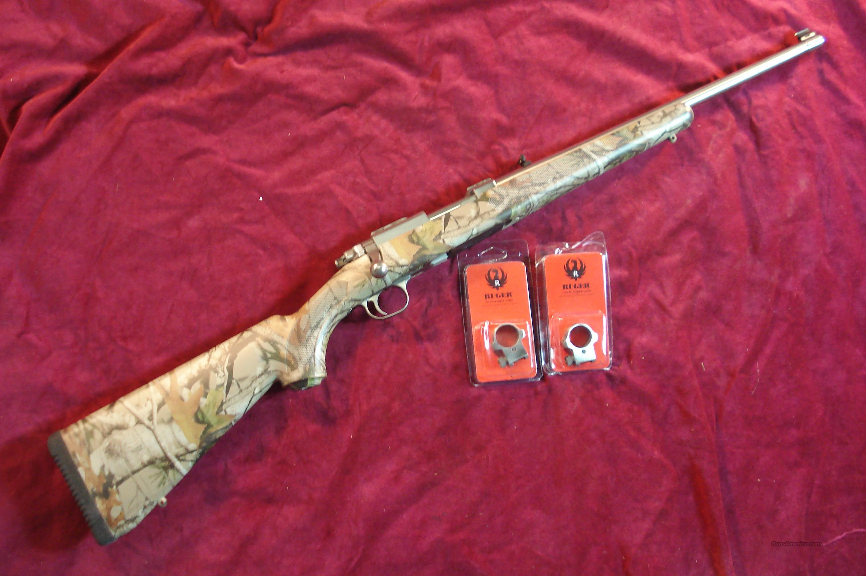 RUGER M77 STAINLESS 44 MAGNUM CAMO STOCK NEW (K77/44RSPC)  Guns > Rifles > Ruger Rifles > Model 77