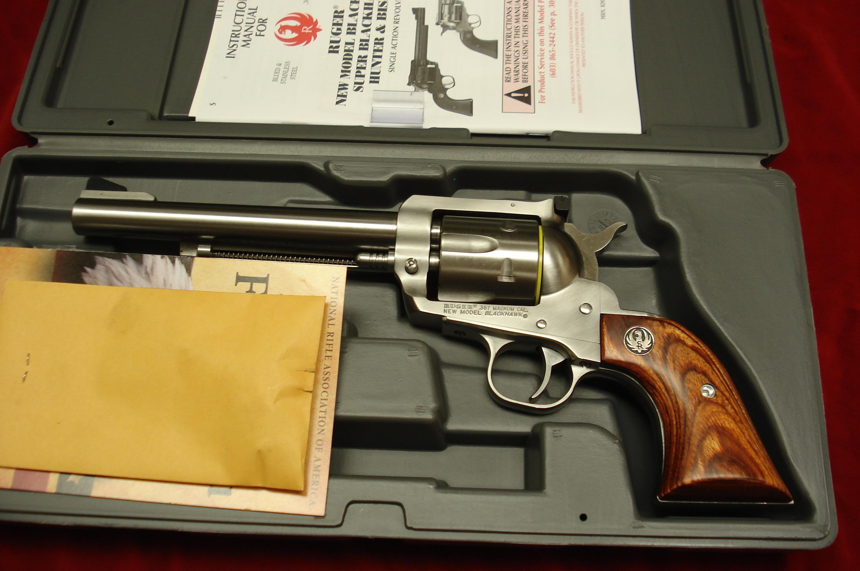 "RUGER NEW MODEL BLACKHAWK 357MAG 6.5"" STAINLESS NEW  (KBN-36)  Guns > Pistols > Ruger Single Action Revolvers > Blackhawk Type"