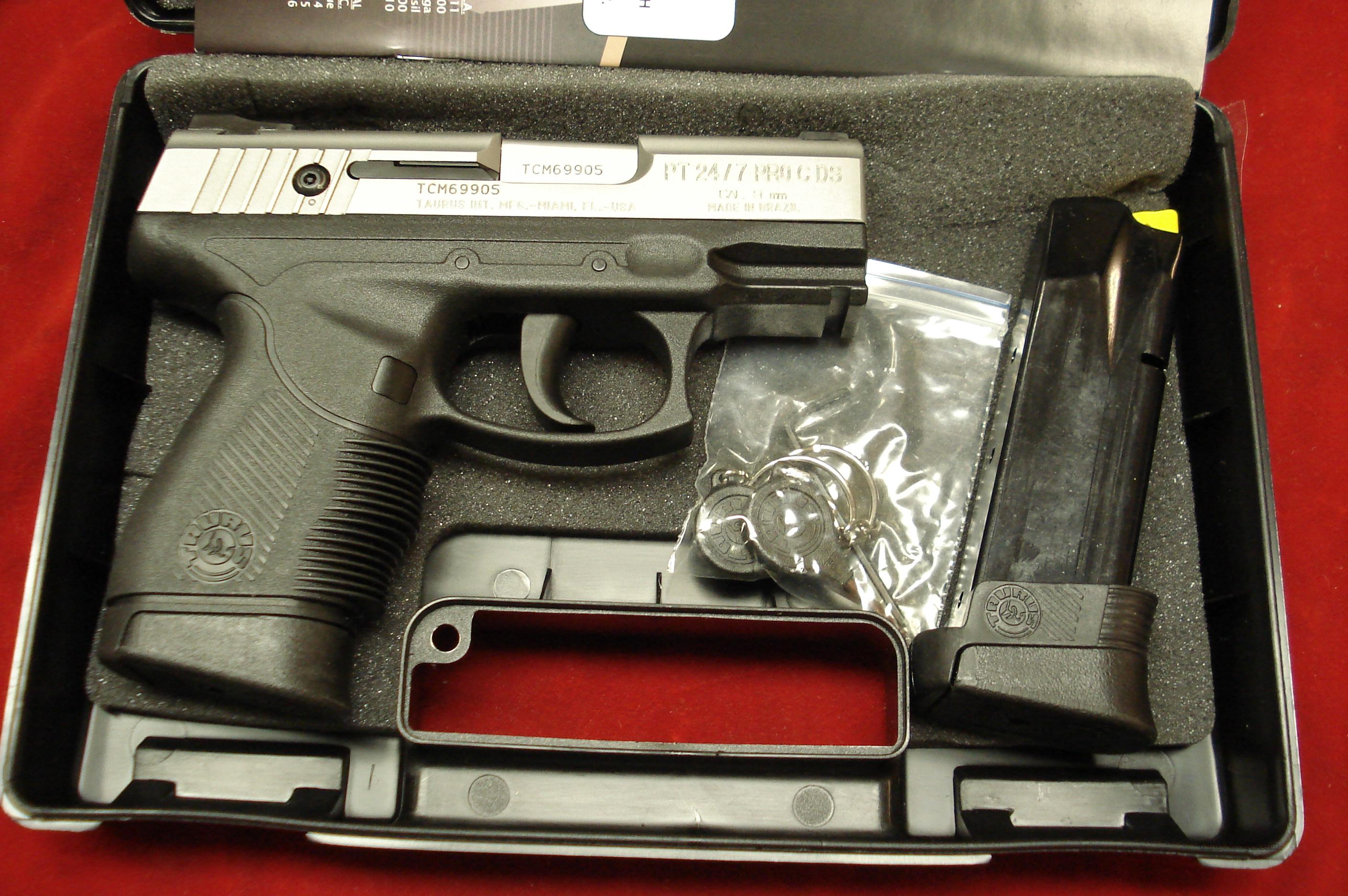 TAURUS PT24/7 STAINLESS COMPACT 9MM NEW IN THE BOX  Guns > Pistols > Taurus Pistols/Revolvers > Pistols > Polymer Frame