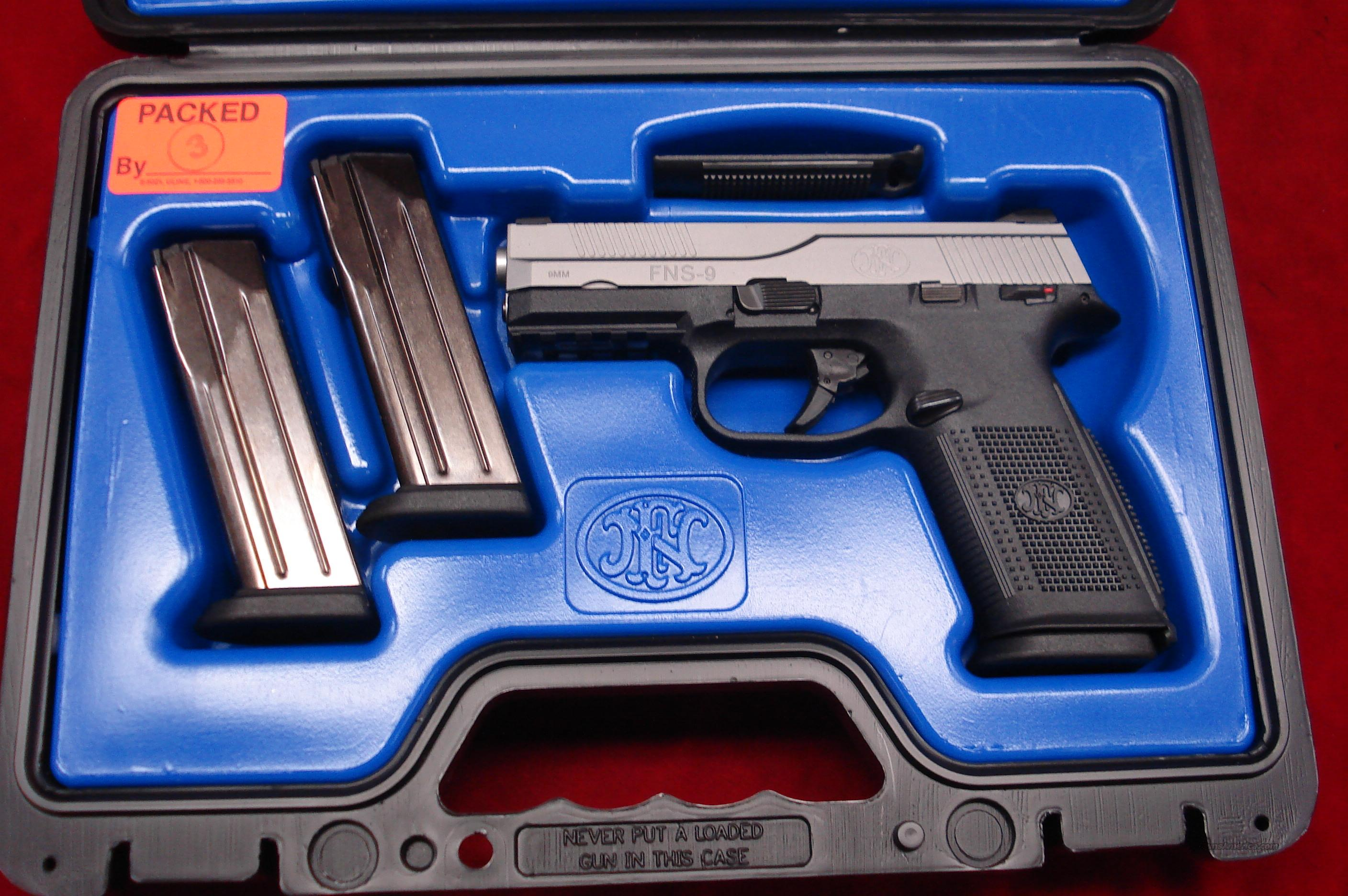 FN FNS-9 9MM STAINLESS W/NIGHT SIGHTS NEW  Guns > Pistols > FNH - Fabrique Nationale (FN) Pistols > FNP