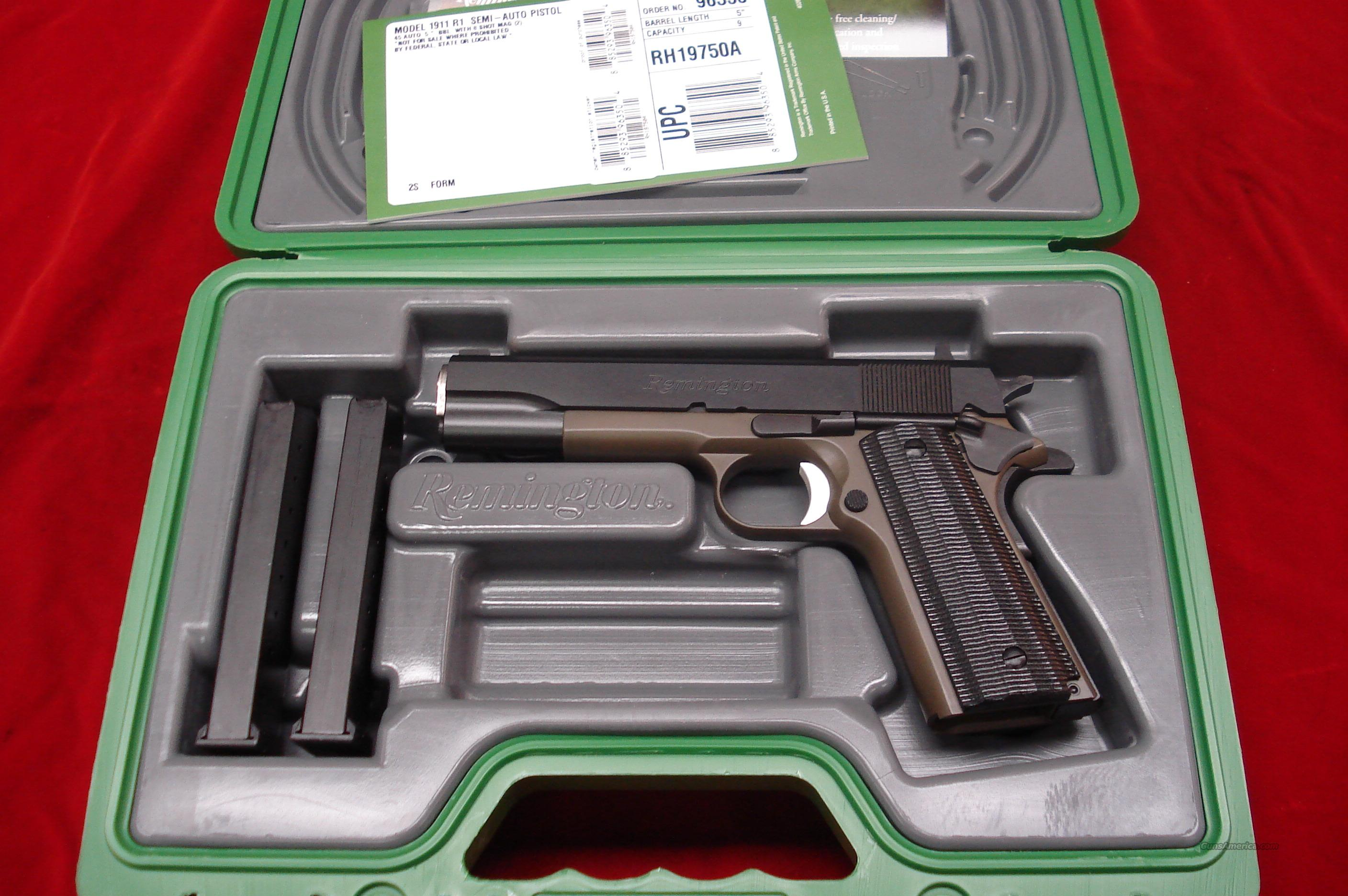 REMINGTON 1911 R1 45ACP GREEN DURACOAT FRAME WITH MICARTA GRIPS NEW {{ IN STOCK READY TO SHIP }}  Guns > Pistols > Remington Pistols - Modern