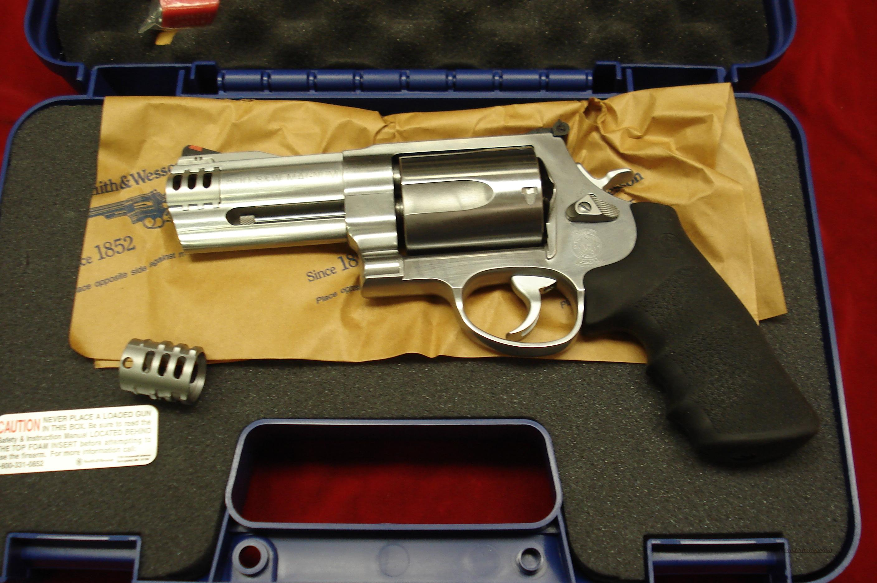 "SMITH AND WESSON 500 MAGNUM STAINLESS 4"" NEW  Guns > Pistols > Smith & Wesson Revolvers > Full Frame Revolver"