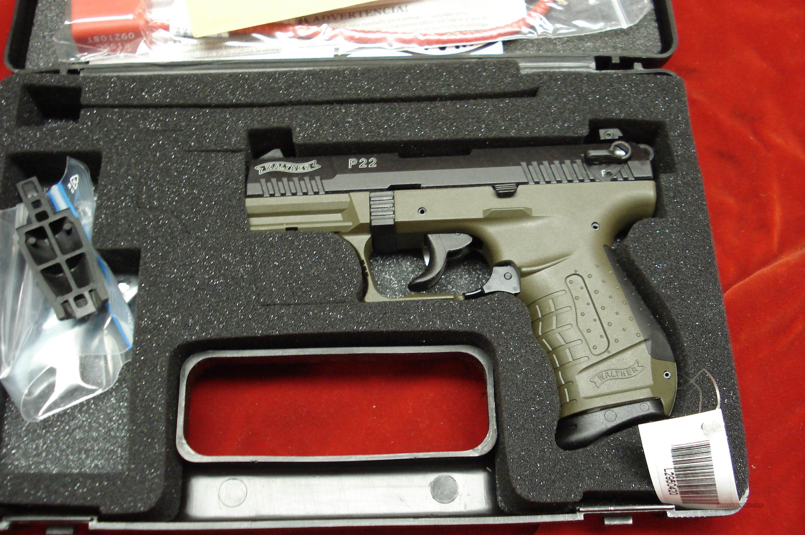 "WALTHER P22 3.42"" OD GREEN NEW  Guns > Pistols > Walther Pistols > Post WWII > Target Pistols"