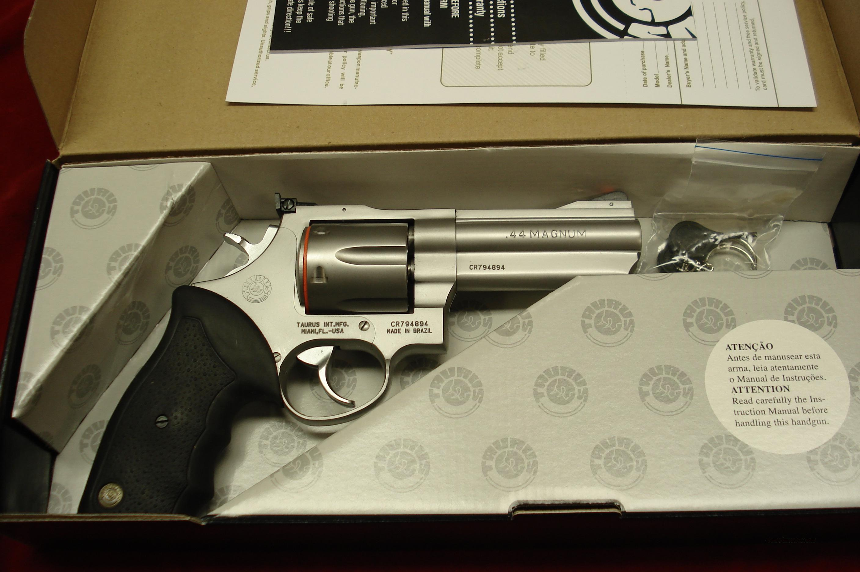 "TAURUS MODEL 44CP STAINLESS PORTED 4"" 44MAG. NEW   Guns > Pistols > Taurus Pistols/Revolvers > Revolvers"