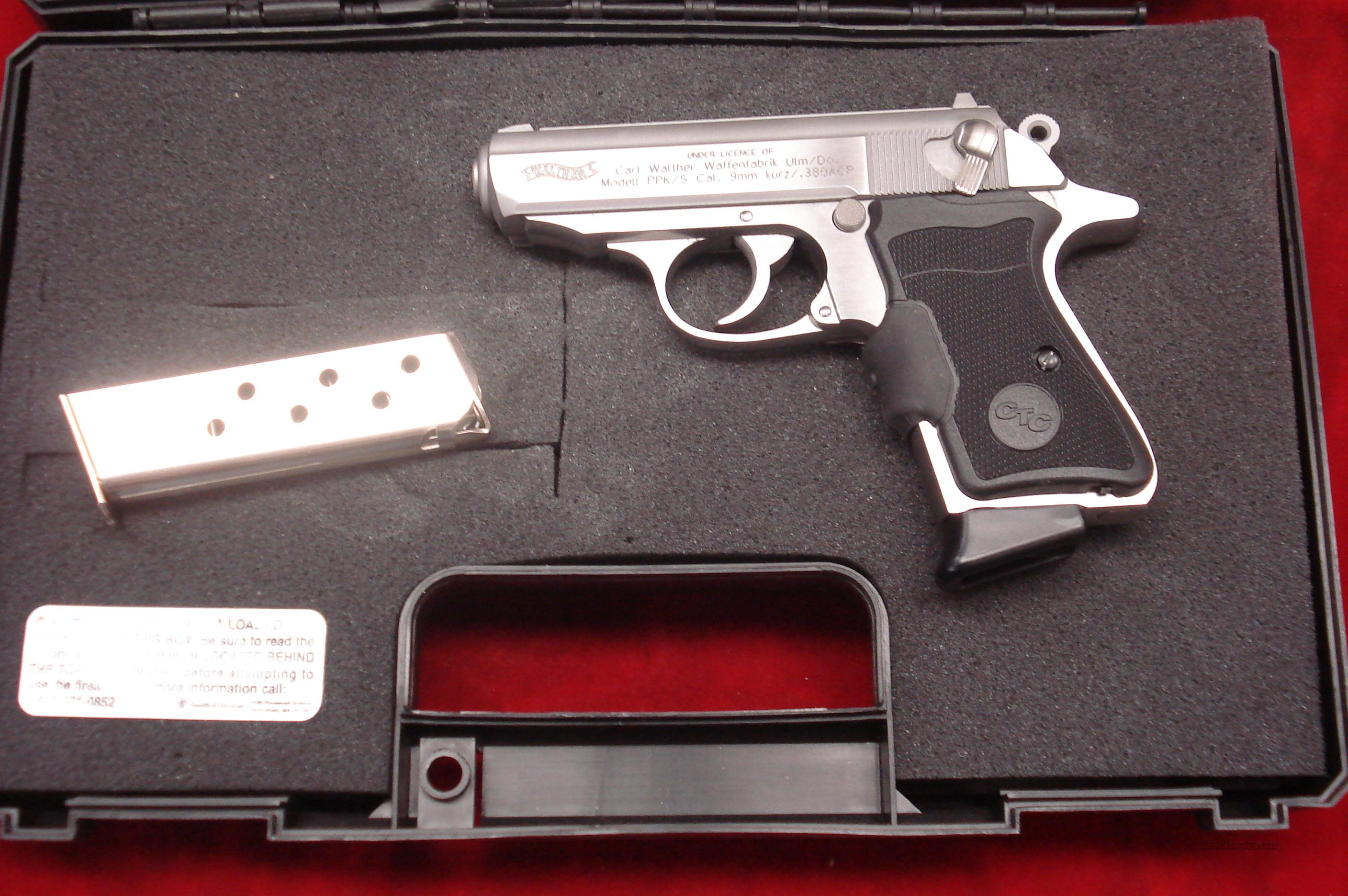 WALTHER PPK/S 380 CAL. STAINLESS WITH FACTORY CRIMSON TRACE LASER GRIPS NEW   Guns > Pistols > Walther Pistols > Post WWII > PPK Series