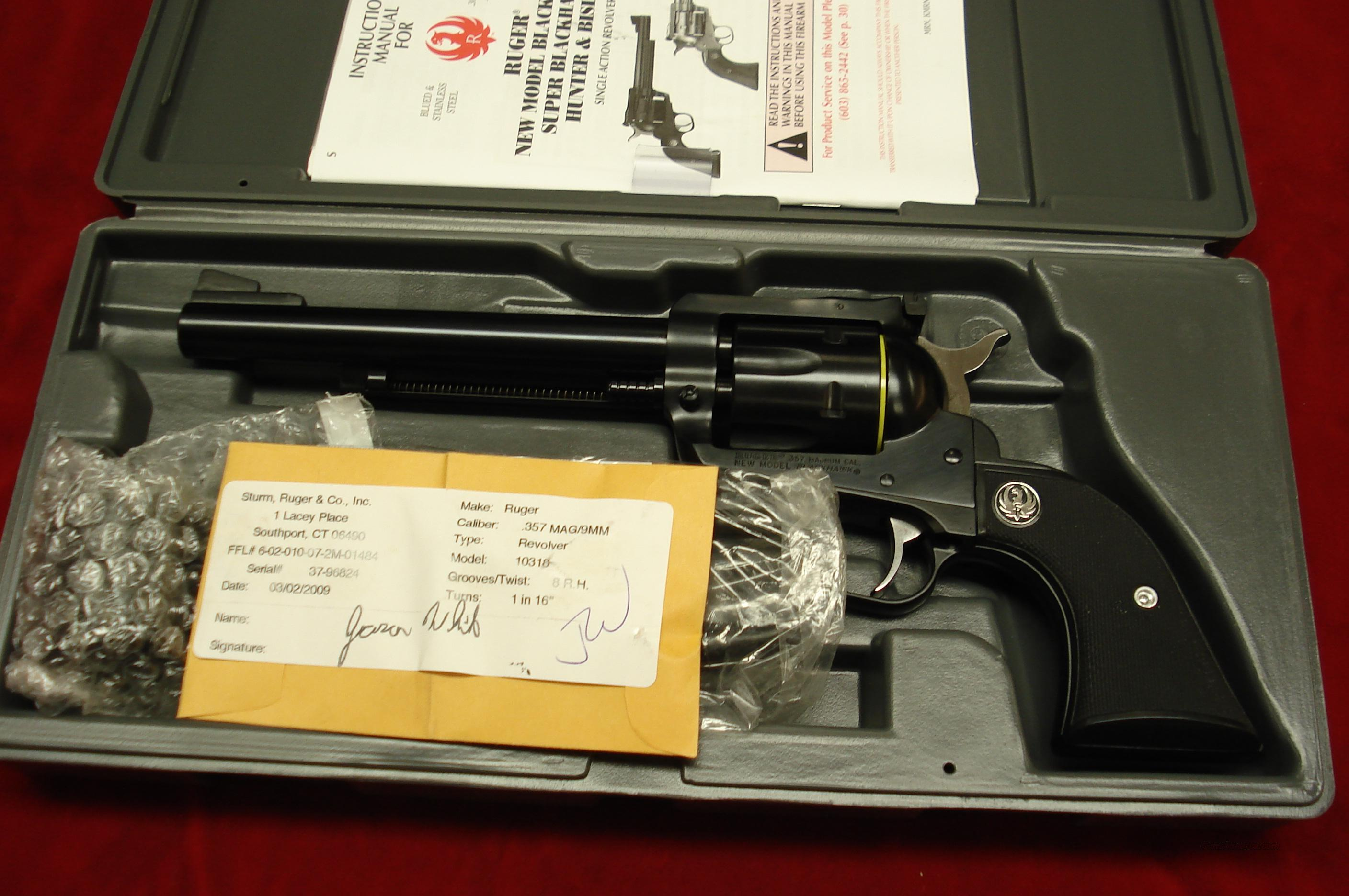 "RUGER BLACKHAWK CONVERTABLE 357MAG/9MM 6.5"" BLUE NEW (BN-36XL)  Guns > Pistols > Ruger Single Action Revolvers > Blackhawk Type"