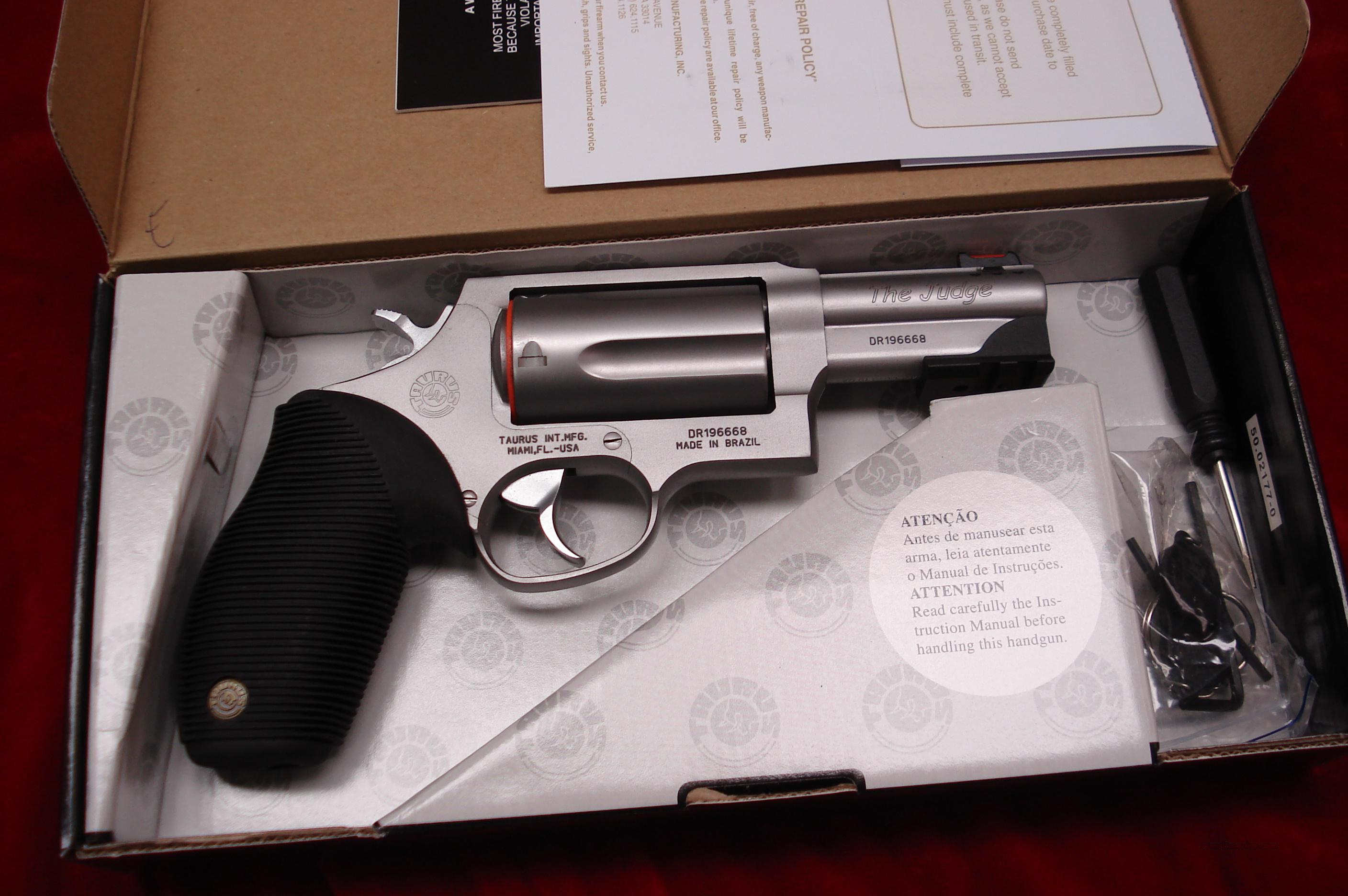 "TAURUS 4510 TRACKER 410G REVOLVER ""THE JUDGE"" 3"" STAINLESS WITH TAC RAIL NEW  Guns > Pistols > Taurus Pistols/Revolvers > Revolvers"