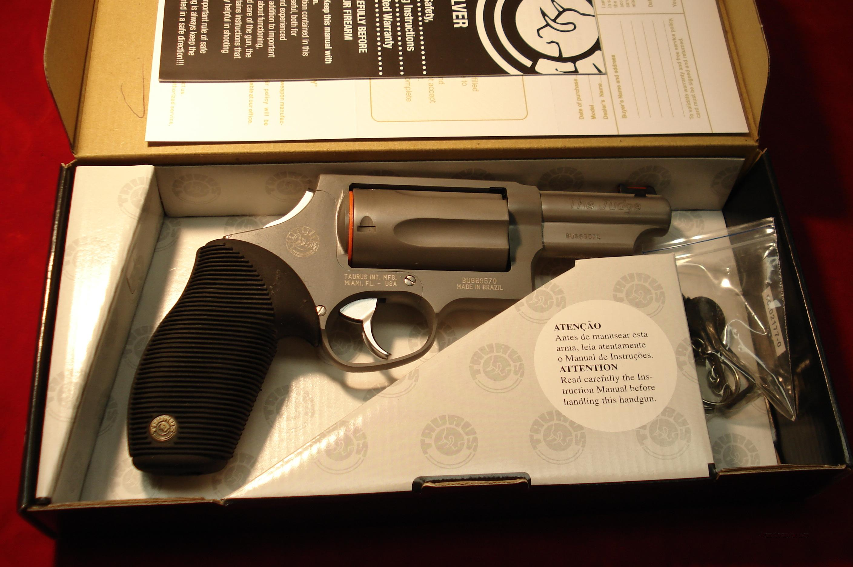 "TAURUS 4510 TRACKER 410G REVOLVER "" THE JUDGE "" STAINLESS 3"" ULTRA-LITE NEW   Guns > Pistols > Taurus Pistols/Revolvers > Revolvers"