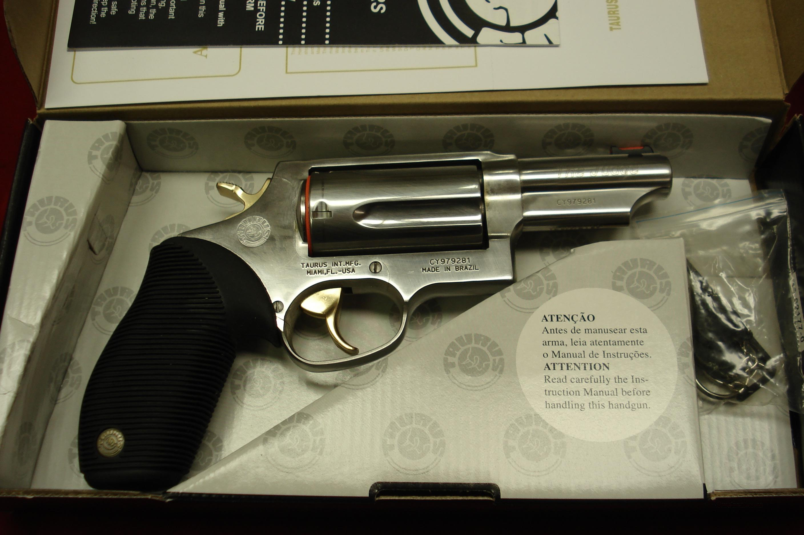 "TAURUS "" THE JUDGE "" POLISHED STAINLESS W/GOLD ACCENTS  3"" BARREL NEW   Guns > Pistols > Taurus Pistols/Revolvers > Revolvers"