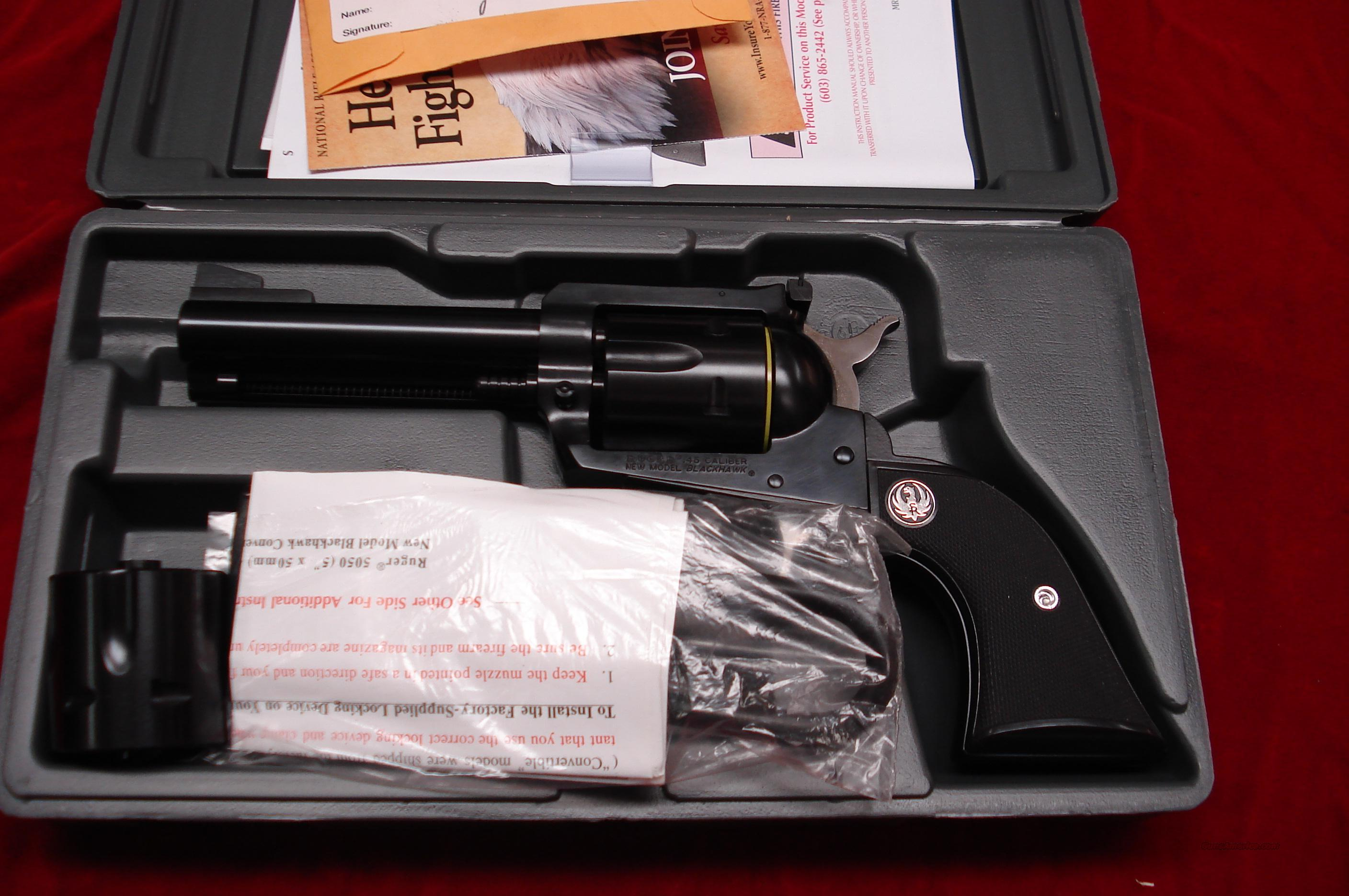 "RUGER BLACKHAWK CONVERTABLE 45COLT/45ACP 4 5/8"" BLUE NEW (BN-44XL)  Guns > Pistols > Ruger Single Action Revolvers > Blackhawk Type"
