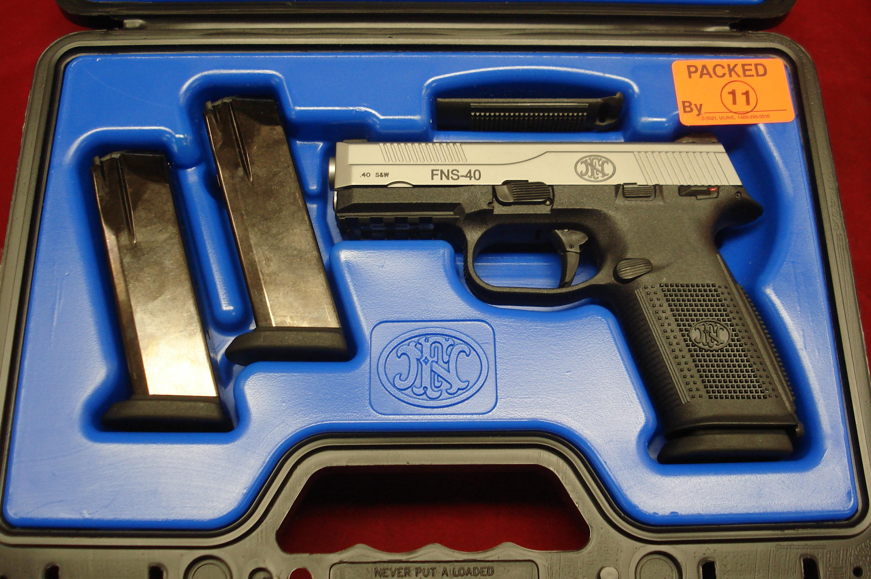 FN FNS-40 STAINLESS .40CAL. WITH NIGHT SIGHTS NEW  Guns > Pistols > FNH - Fabrique Nationale (FN) Pistols > FNP