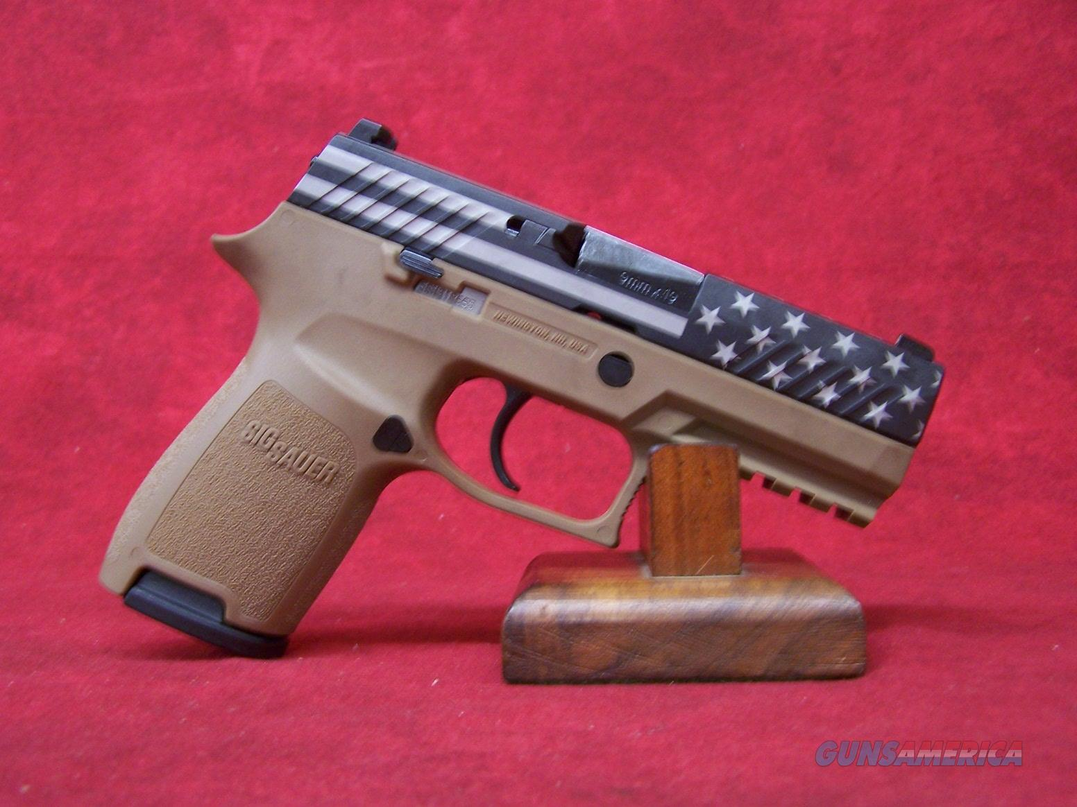 "Sig Sauer P320 FLAG 9MM 15RD Coyote Flag With Stars Slide 3.9"" Barrel (320C-9-DVS18)798681605255  Guns > Pistols > Sig - Sauer/Sigarms Pistols > P320"