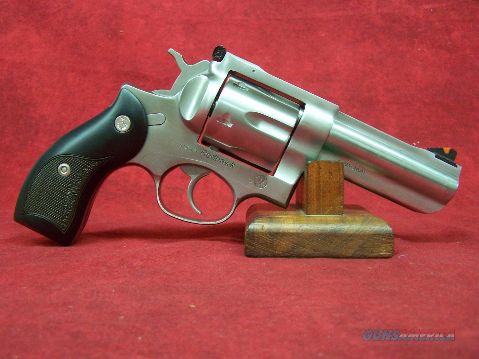 """RUGER REDHAWK 44MAG 4"""" SS FULL LUG AS ROUND BUTT/BLACK MICARTA 44 Magnum 