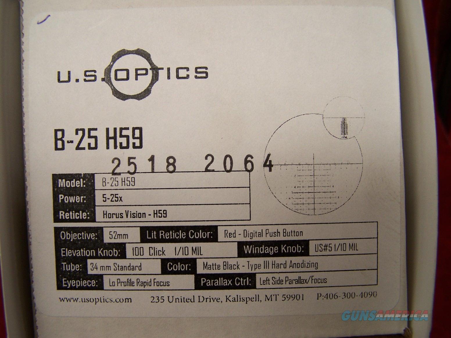 U.S. Optics B-25 H59 5-25x 52mm Red Horus Vision Lit Reticle  Non-Guns > Scopes/Mounts/Rings & Optics > Rifle Scopes > Variable Focal Length