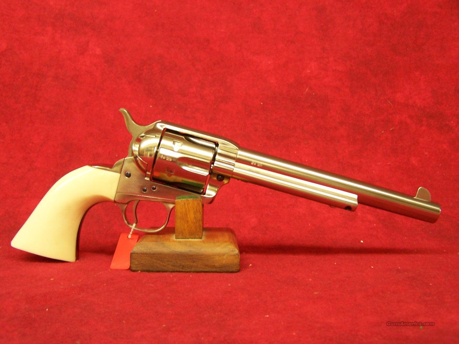 """Uberti 1873 Cattleman Cody NM Nickel w/Ivory Style grips .45 LC 7 1/2"""" (356114)  Guns > Pistols > Uberti Pistols > Ctg."""