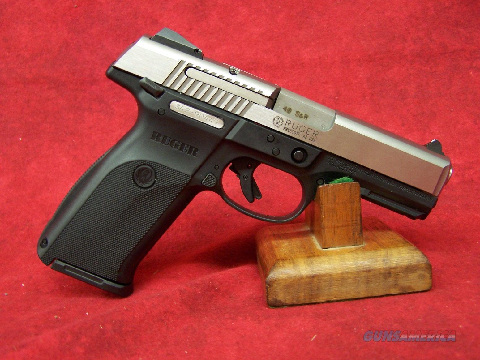 """Ruger SR40 .40 S&W 4.14"""" Barrel Brushed Stainless Steel Slide Black Frame (03470)  Guns > Pistols > Ruger Semi-Auto Pistols > SR Family > SR40"""