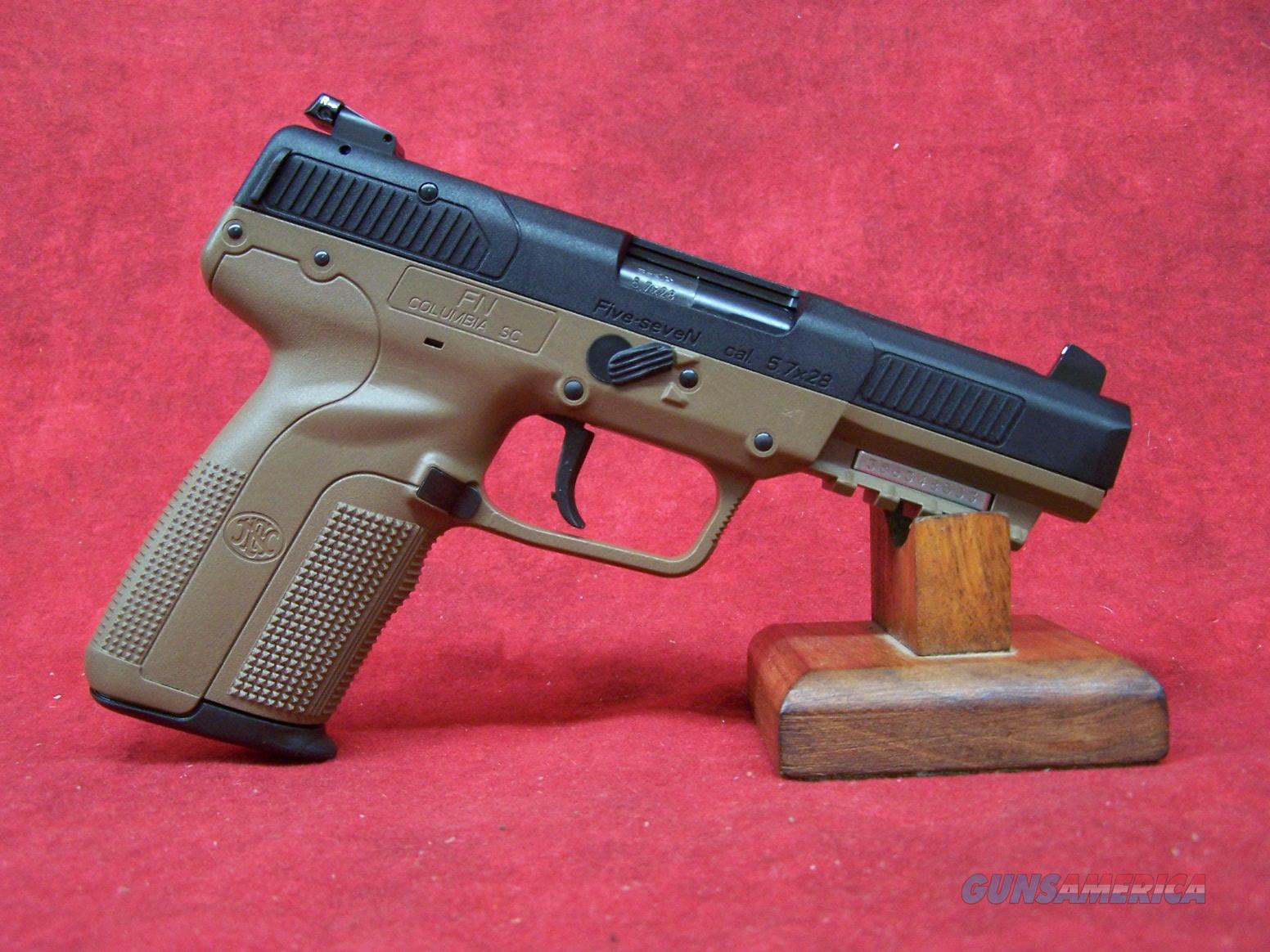 """FNH Five-Seven 5.7 x 28mm FDE 4 3/4"""" adjustable sights 3-20 round mags (3868929350)  Guns > Pistols > FNH - Fabrique Nationale (FN) Pistols > FiveSeven"""