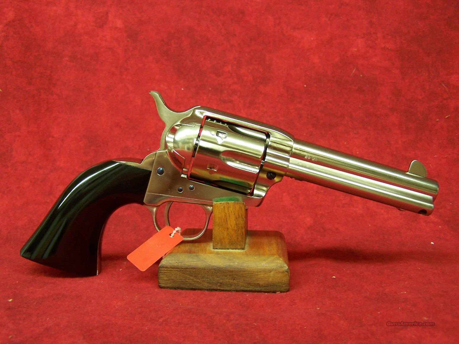 "Uberti 1873 Cattleman Desperado NM Nickel w/Bison Horn Style Grips .45LC 4 3/4"" (356030)  Guns > Pistols > Uberti Pistols > Ctg."