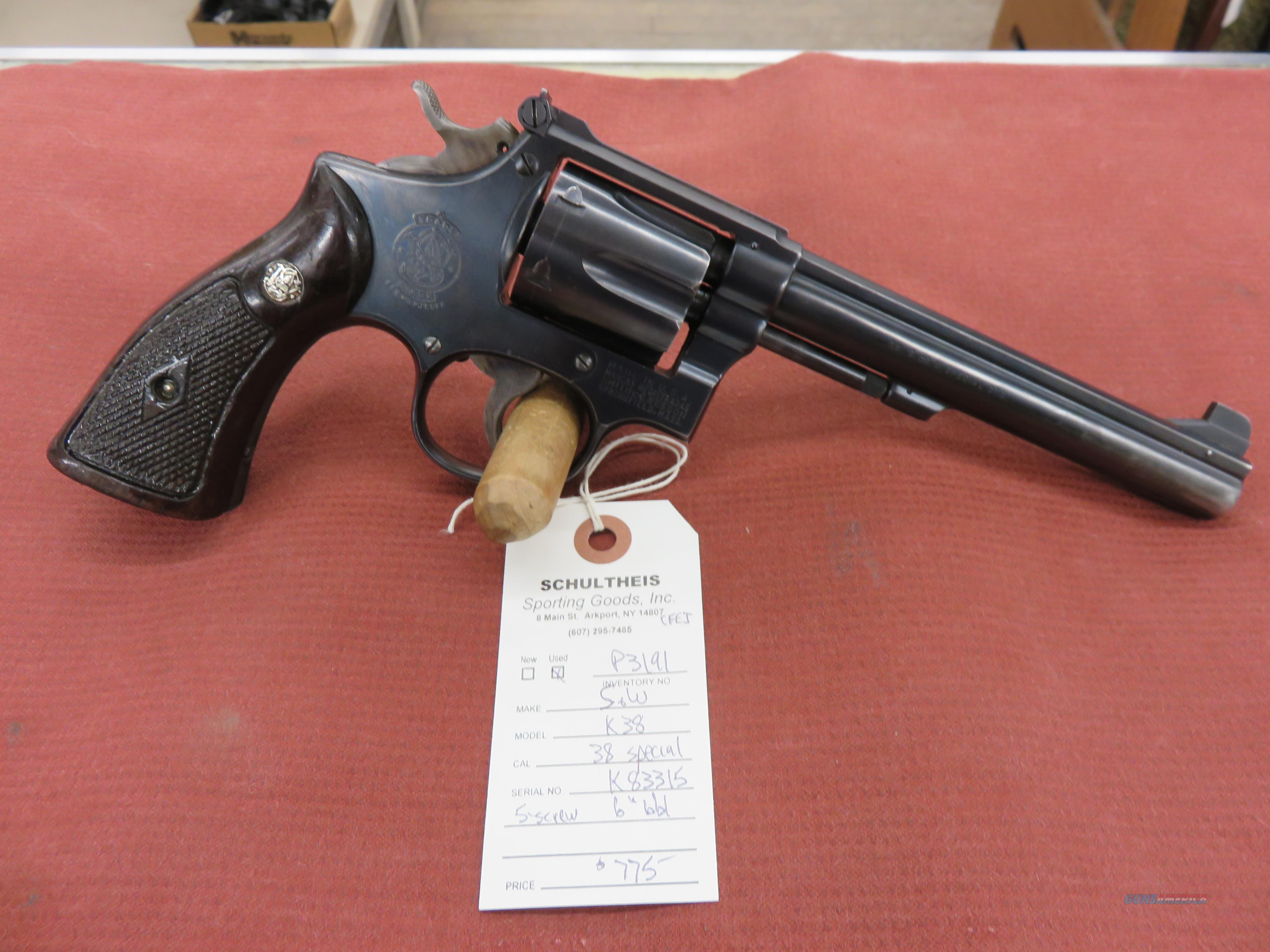 Smith & Wesson  K-38, 5- screw, 38-special  Guns > Pistols > Smith & Wesson Revolvers > Full Frame Revolver