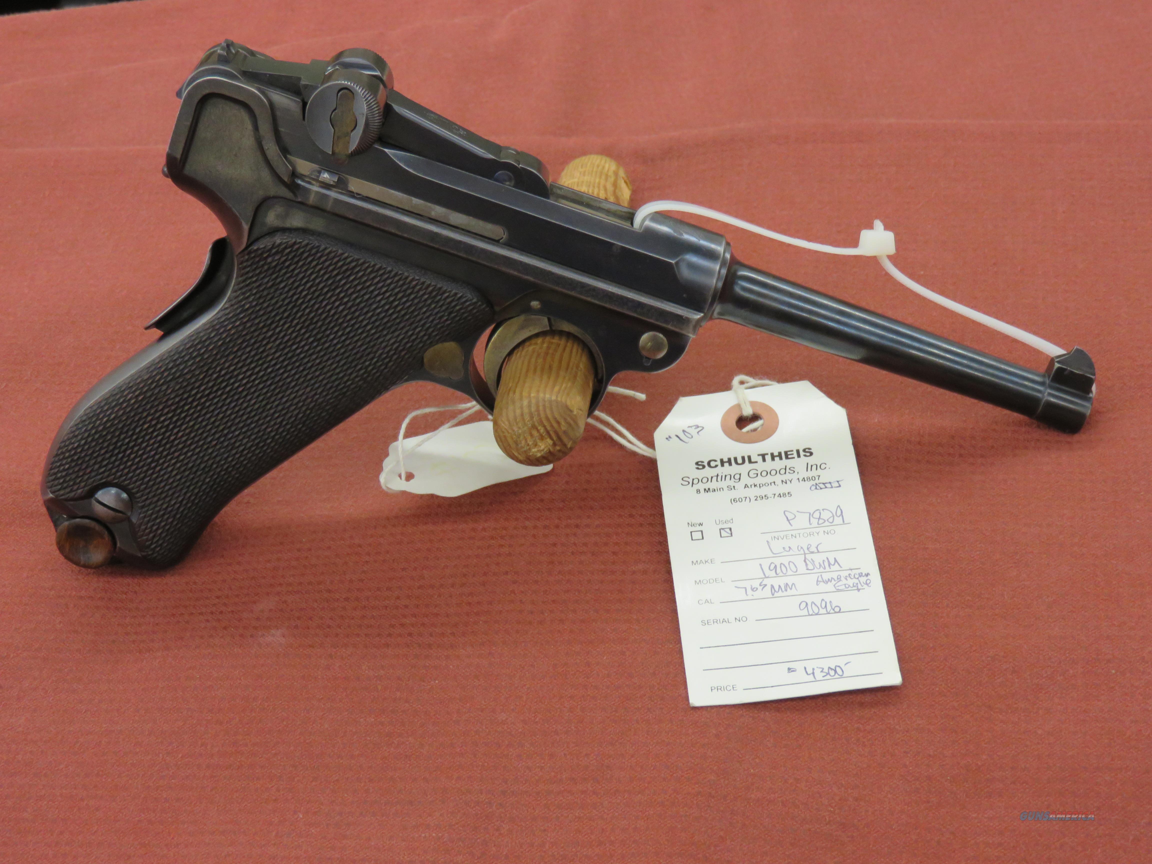 Luger 1900 DWM American Eagle 7.65mm   Guns > Pistols > Luger Pistols