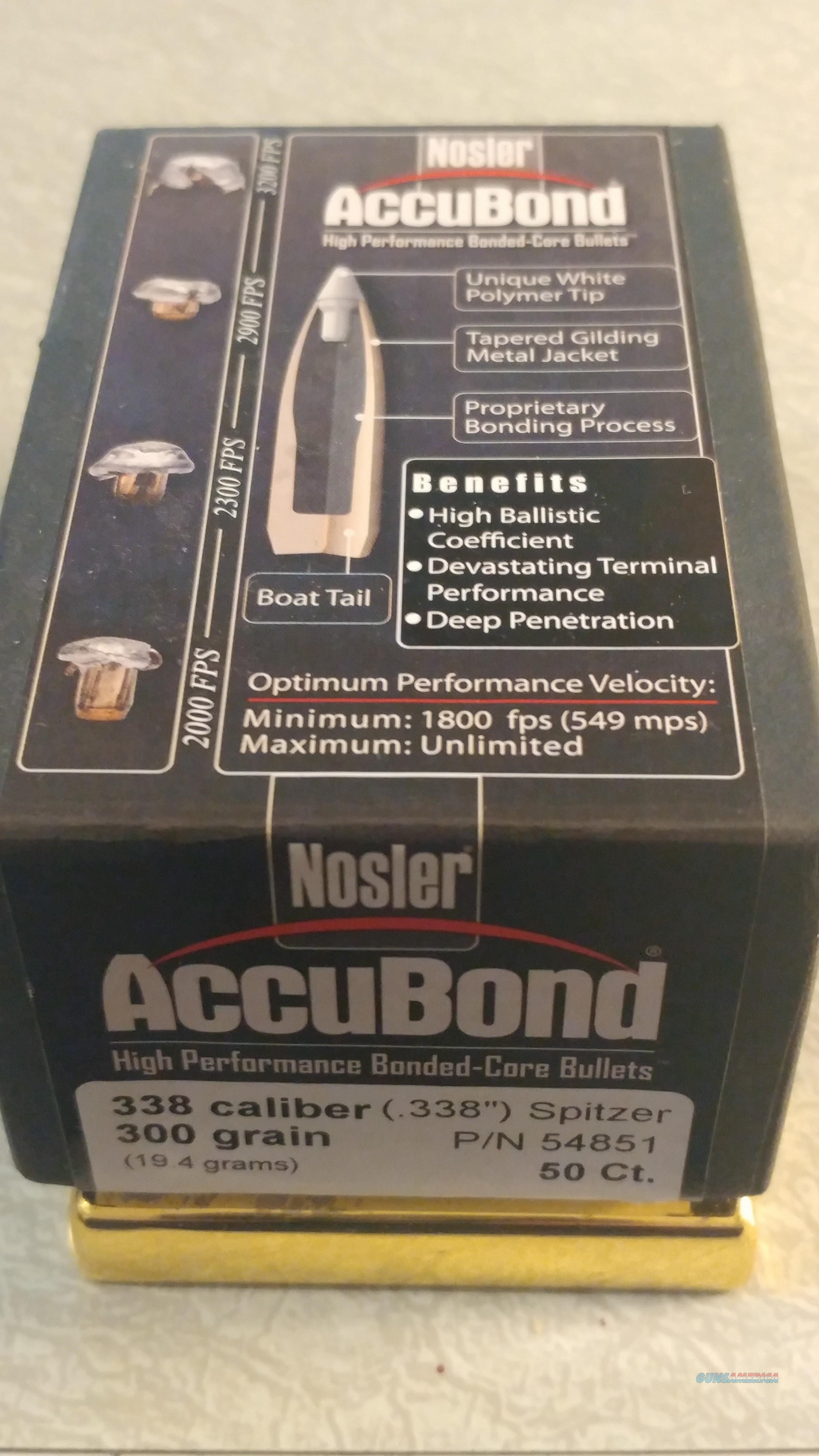 NOSLER ACCUBOND HIGH PERFORMANCE BONDED-CORE BULLETS 338 CALIBER 300 GRAIN  Non-Guns > Reloading > Components > Bullets