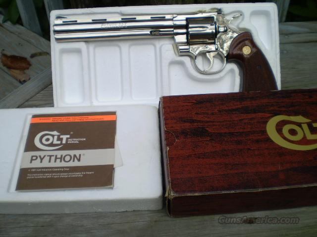 "Colt Python Nickel 357 Mag, 8""  Free Shipping  Guns > Pistols > Colt Double Action Revolvers- Modern"