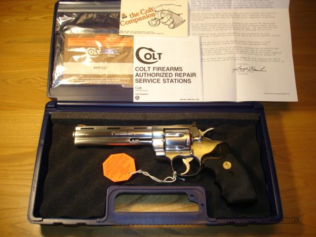 "COLT PYTHON 1990 .357 MAGNUM 6"" STAINLESS ************LIKE NEW IN BOX************  Guns > Pistols > Colt Double Action Revolvers- Modern"
