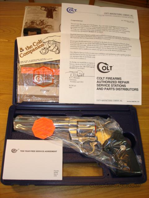 "COLT PYTHON 1995 6"" BARREL ""ULTIMATE"" BRIGHT STAINLESS *********************NEW IN BOX*********************  Guns > Pistols > Colt Double Action Revolvers- Modern"