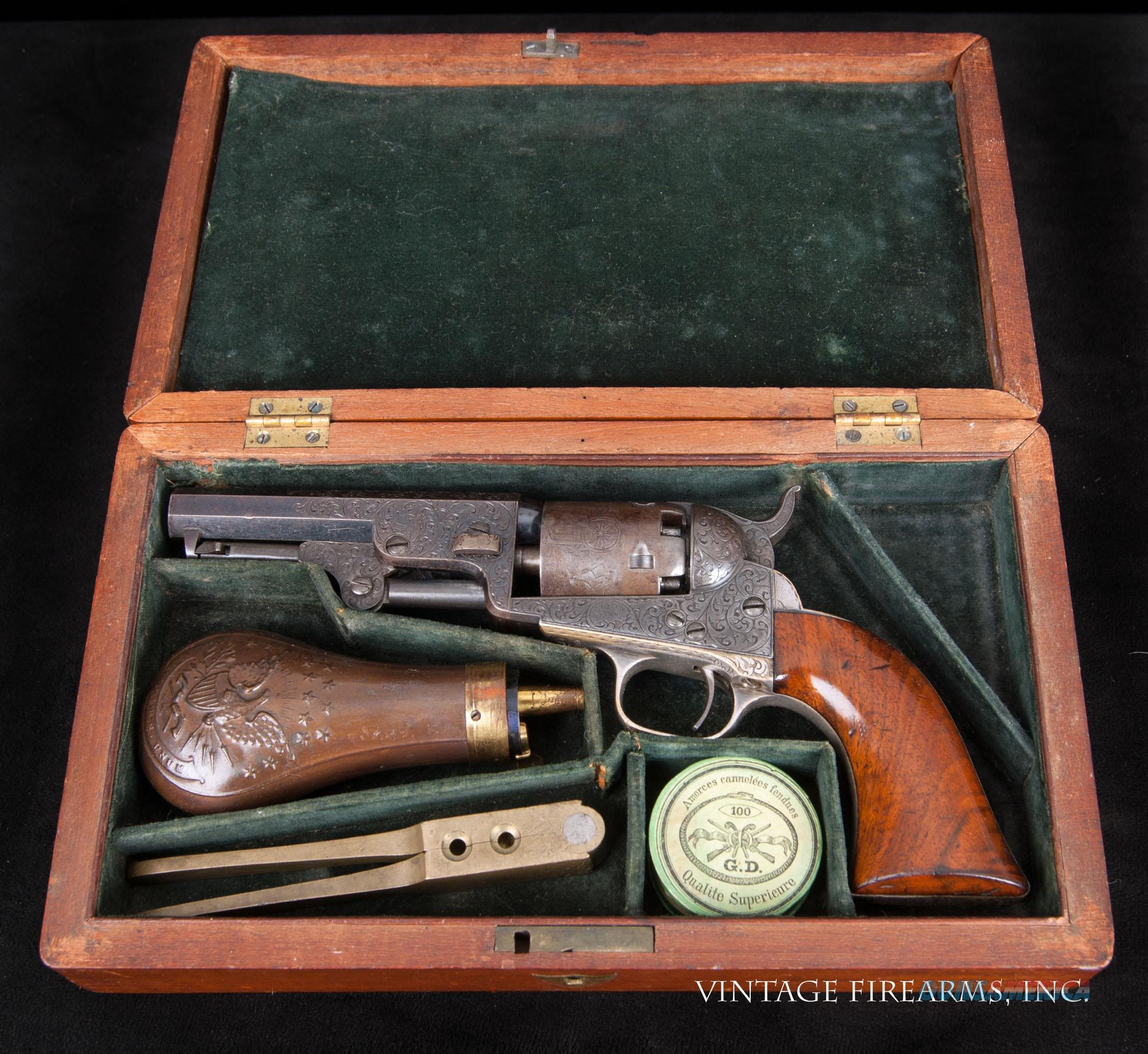 COLT MODEL 1849 POCKET PERCUSSION REVOLVER FINE CASED, ENGRAVED  Guns > Pistols > Colt Percussion Revolver - Pre-1899