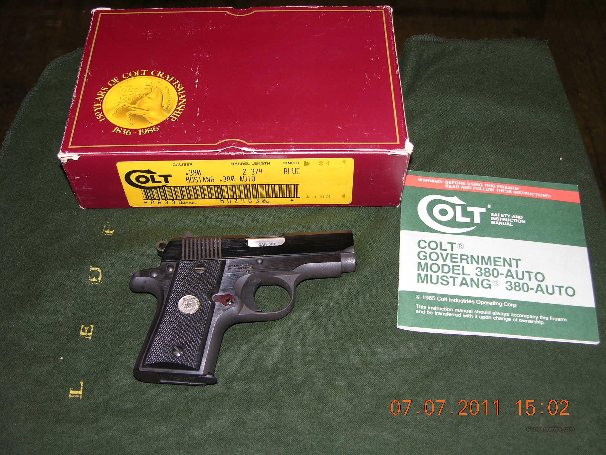 Colt Mustang Blue with box  Guns > Pistols > Colt Automatic Pistols (.25, .32, & .380 cal)
