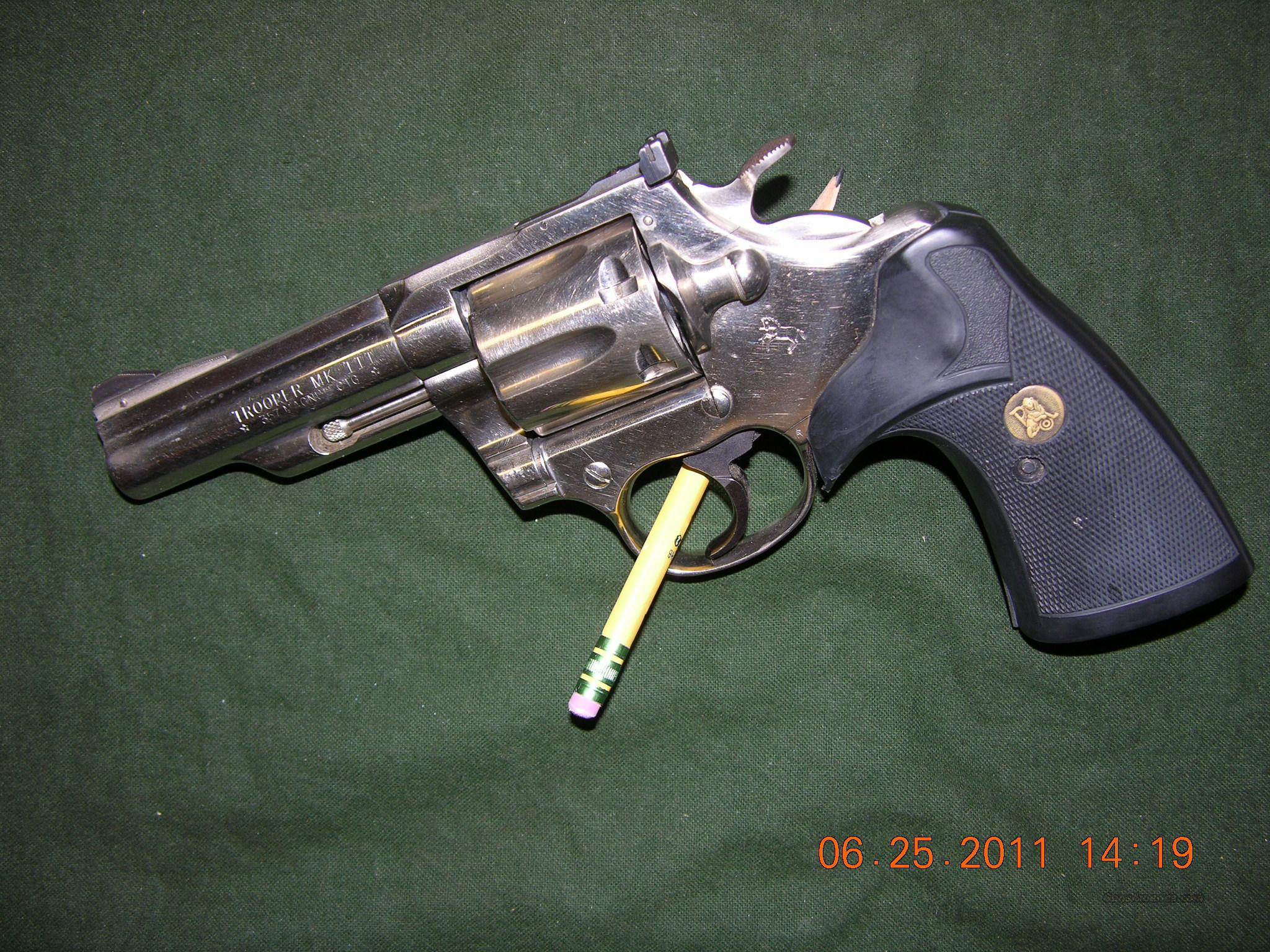 Colt Trooper MK III 357 Magnum 4 inch Nickel  Guns > Pistols > Colt Double Action Revolvers- Modern