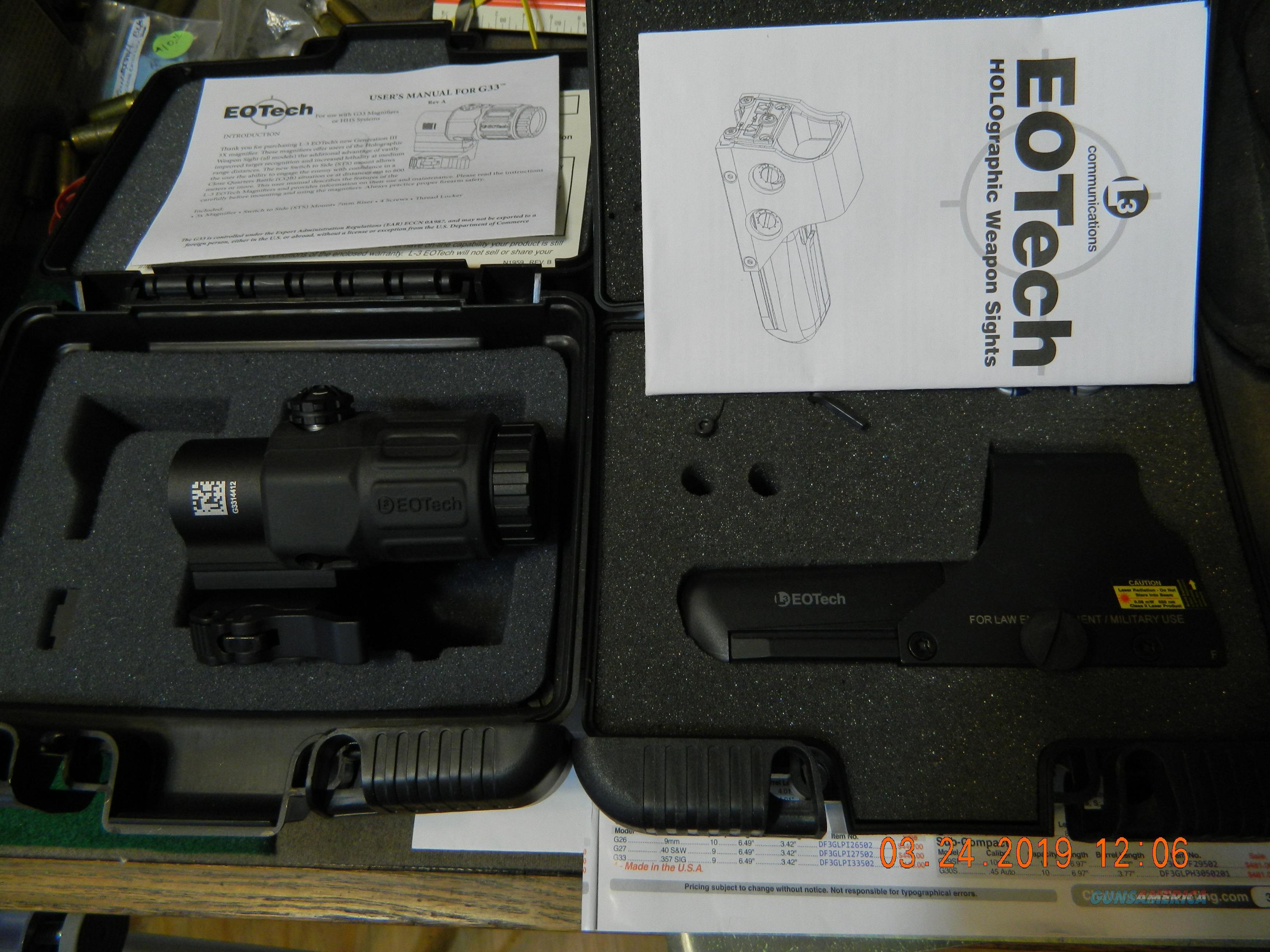 EOTECH 512.A65  w/ G33 magnifier  Non-Guns > Scopes/Mounts/Rings & Optics > Tactical Scopes > Red Dot