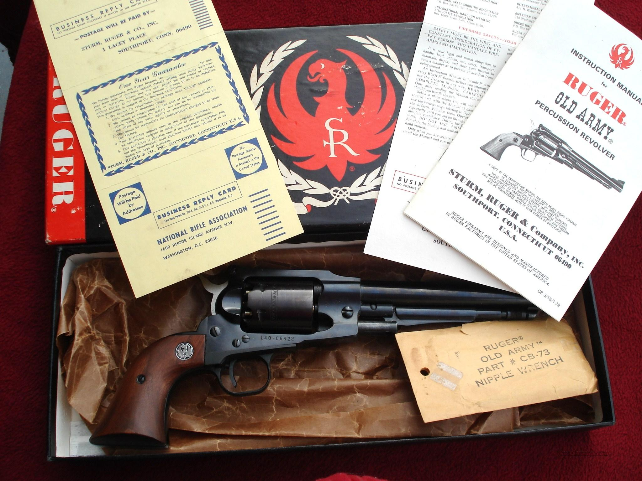 Nice Ruger Old Army Black Powder w/ Box, Wrench, Paperwork (Second Year Production)  Guns > Pistols > Ruger Cap & Ball Revolvers