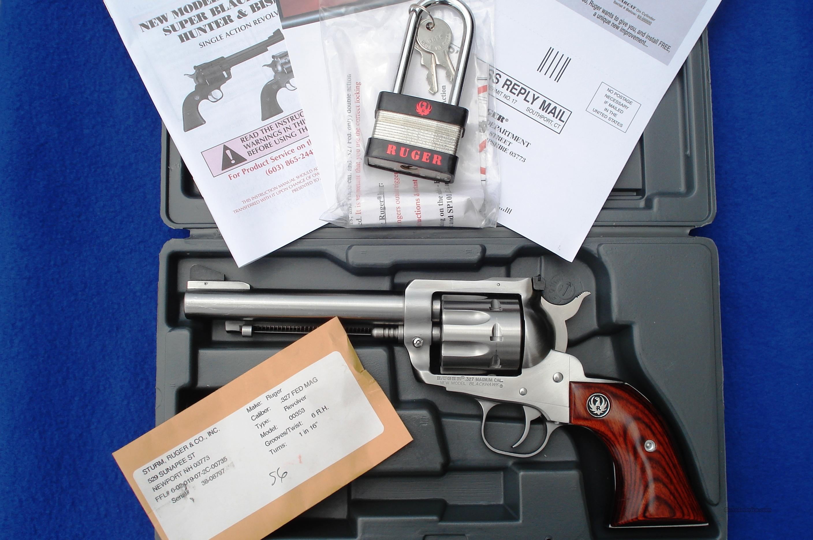 Ruger Blackhawk .327 Fed Mag 8 Shot Stainless Steel 327 Box, Paperwork  Guns > Pistols > Ruger Single Action Revolvers > Blackhawk Type