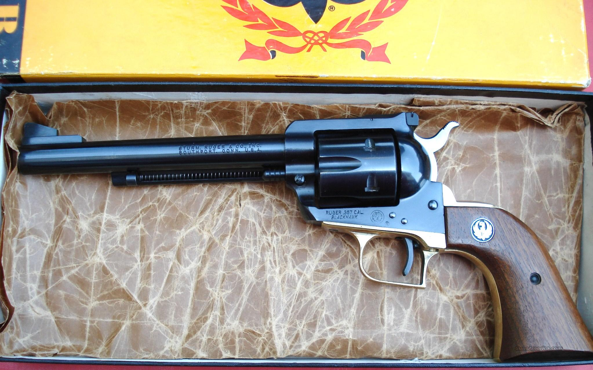 Ruger Brass Frame Blackhawk 6 1/2 Barrel .357 w/ Box  Guns > Pistols > Ruger Single Action Revolvers > Blackhawk Type