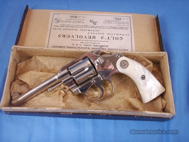 Colt Nickel Police Positive Revolver with Pearl Grips  Guns > Pistols > Colt Double Action Revolvers- Pre-1945