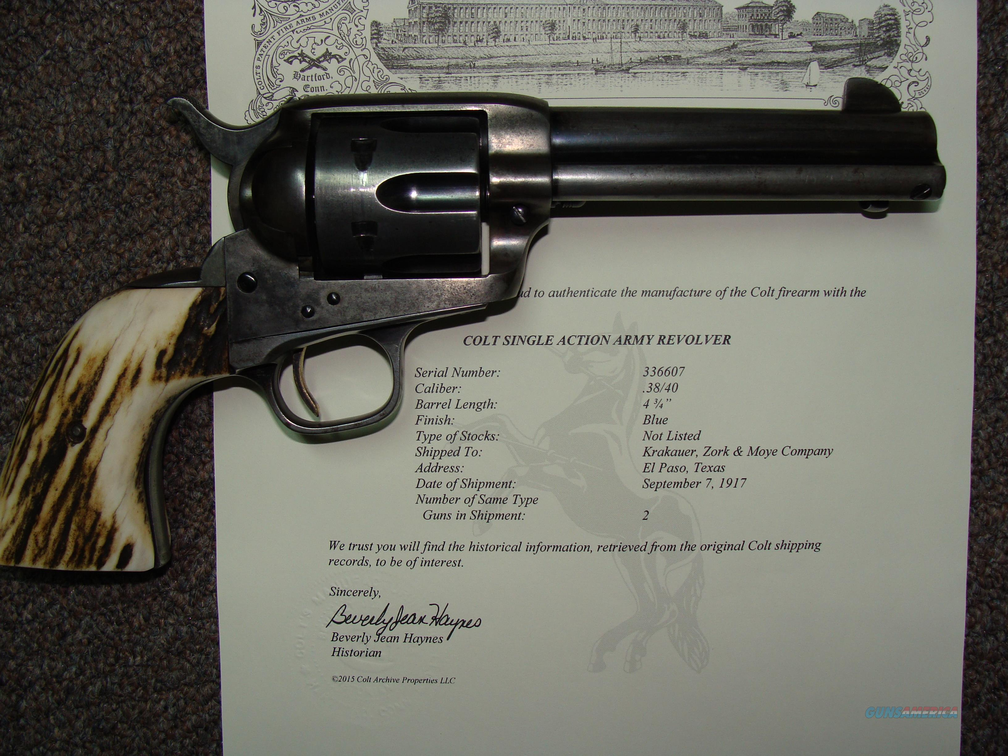 colt saa 4 3/4 inch 38-40  Guns > Pistols > Colt Single Action Revolvers - 1st Gen.