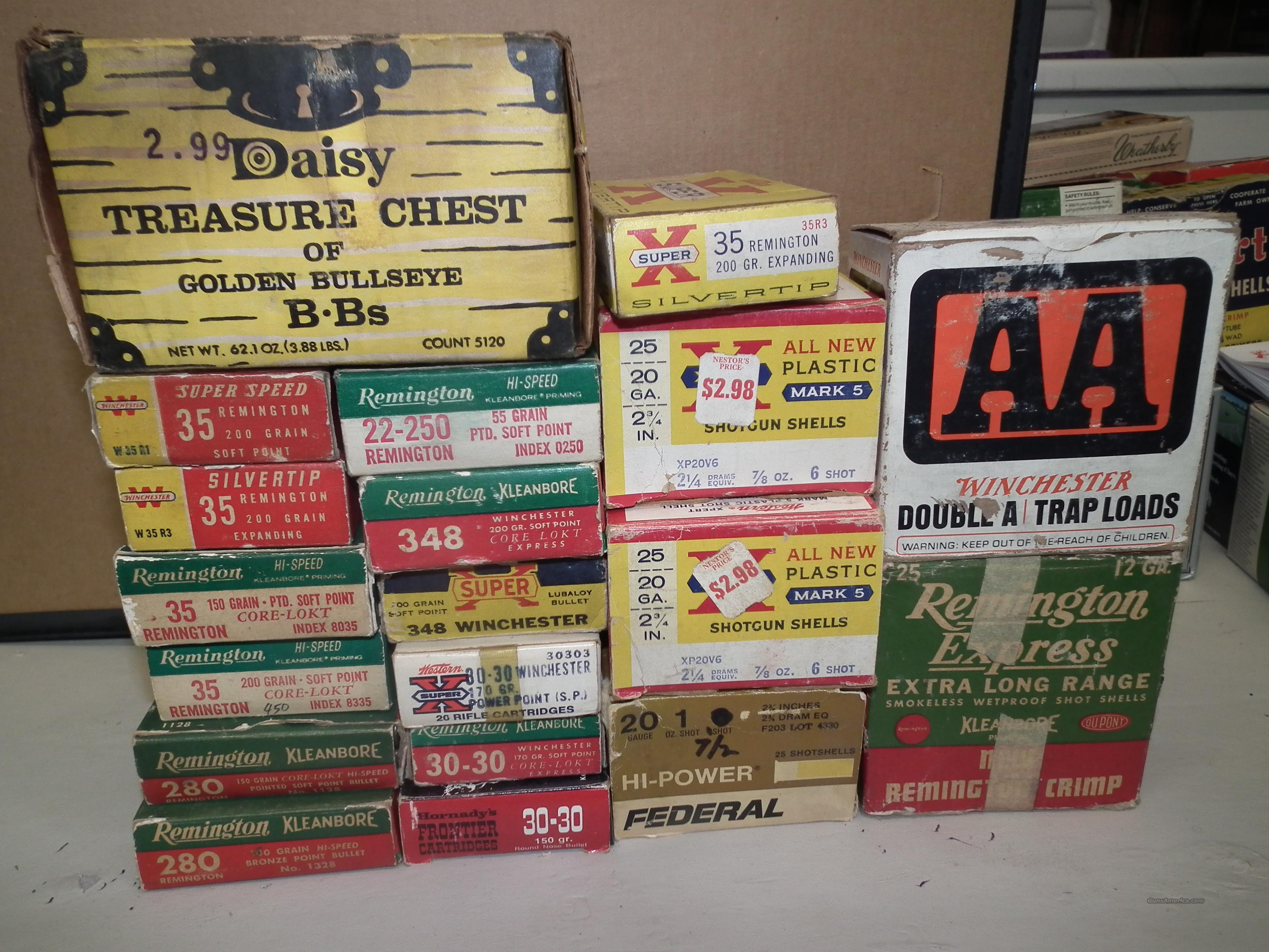 20 OLD BOXES OF ASSORTED AMMUNITION FROM THE 1950'S AND 60'S  Non-Guns > Ammunition