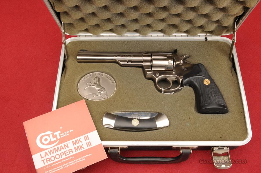 "COLT REVOLVER LIMITED EDITION MOD-TROOPER MK-III  .357 MAG ELECTROLESS NICKLE BARREL 6""  Guns > Pistols > Colt Double Action Revolvers- Modern"